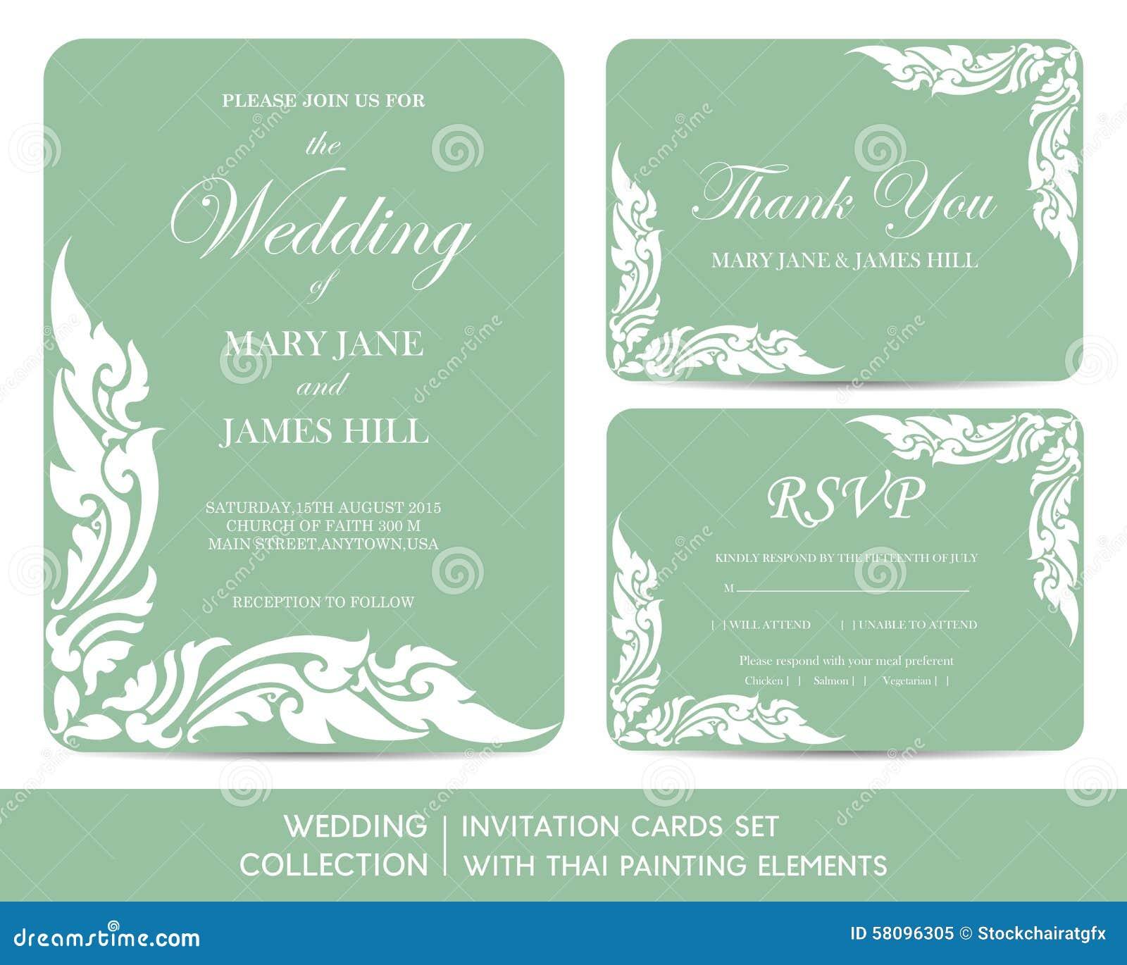 婚礼邀请与泰国绘画的卡集