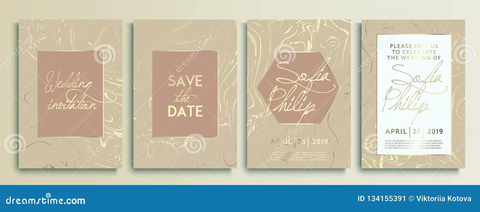 婚礼邀请卡片有大理石纹理背景和金几何线设计传染媒介 婚礼邀请框架集合