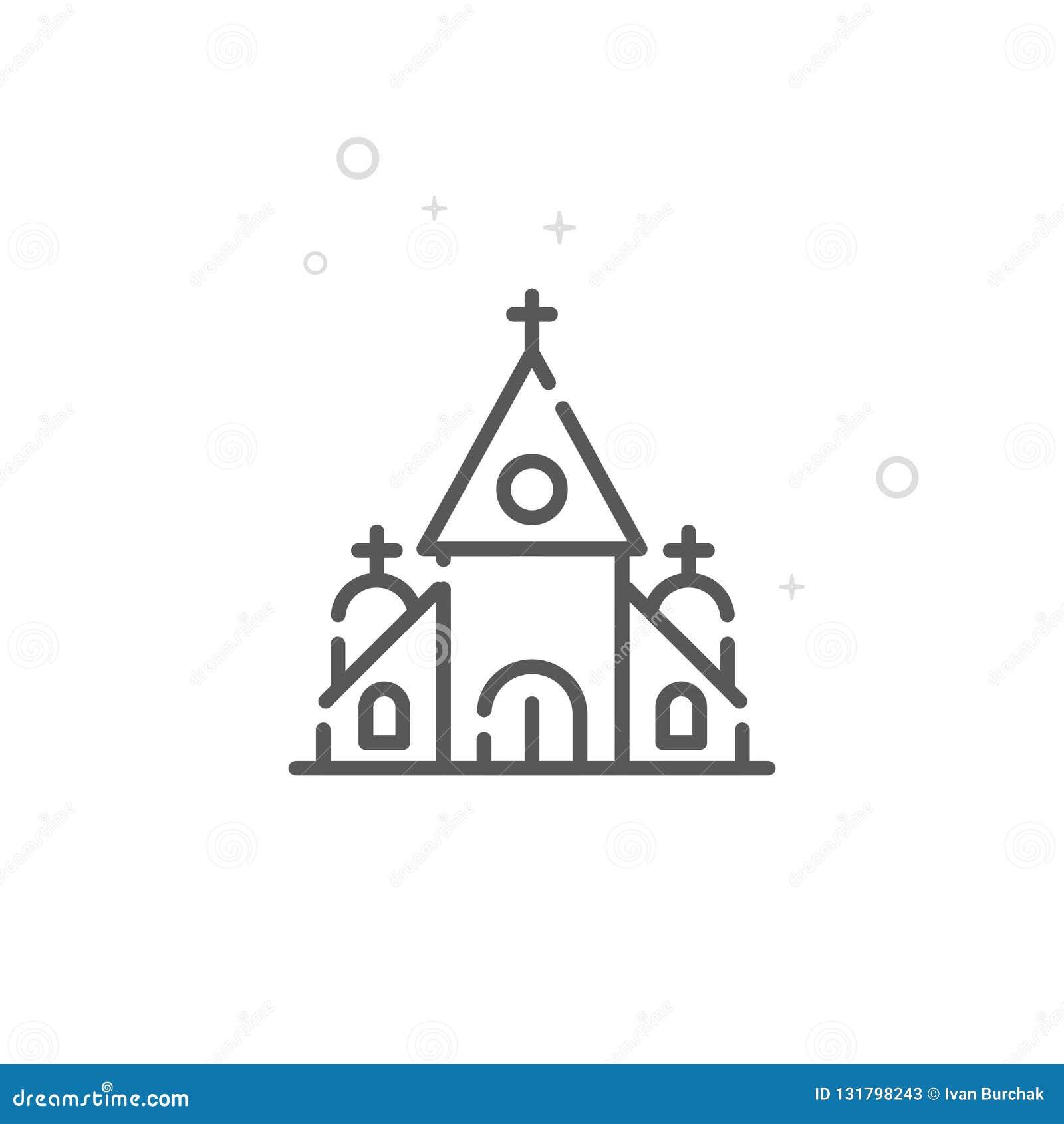 婚礼,教会传染媒介线象,标志,图表,标志 轻的抽象几何背景 编辑可能的冲程