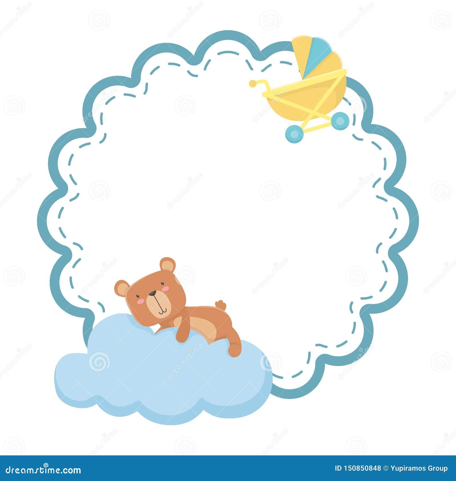 婴儿车和玩具熊设计