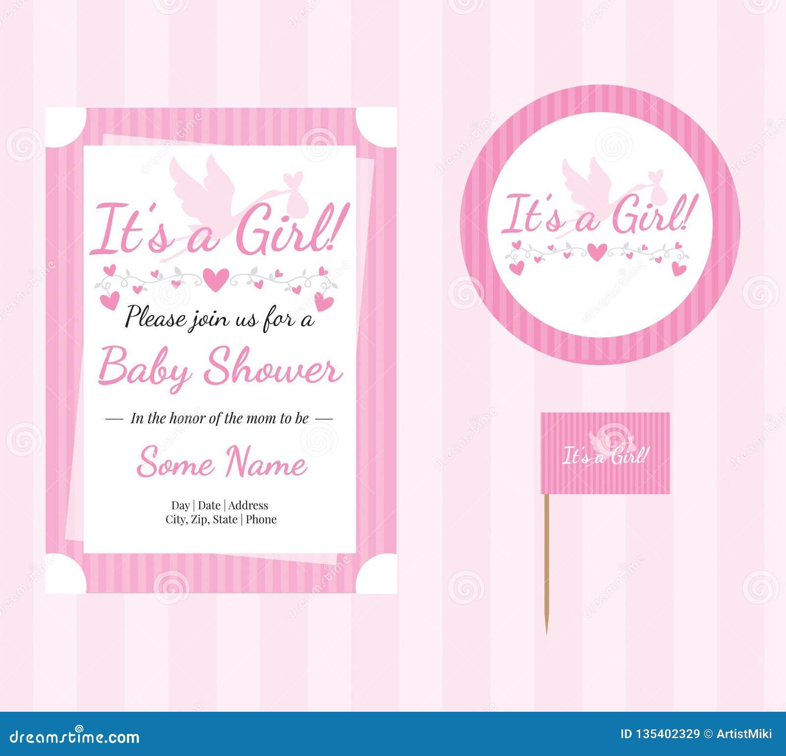 婴儿送礼会,女婴,编辑可能的邀请模板