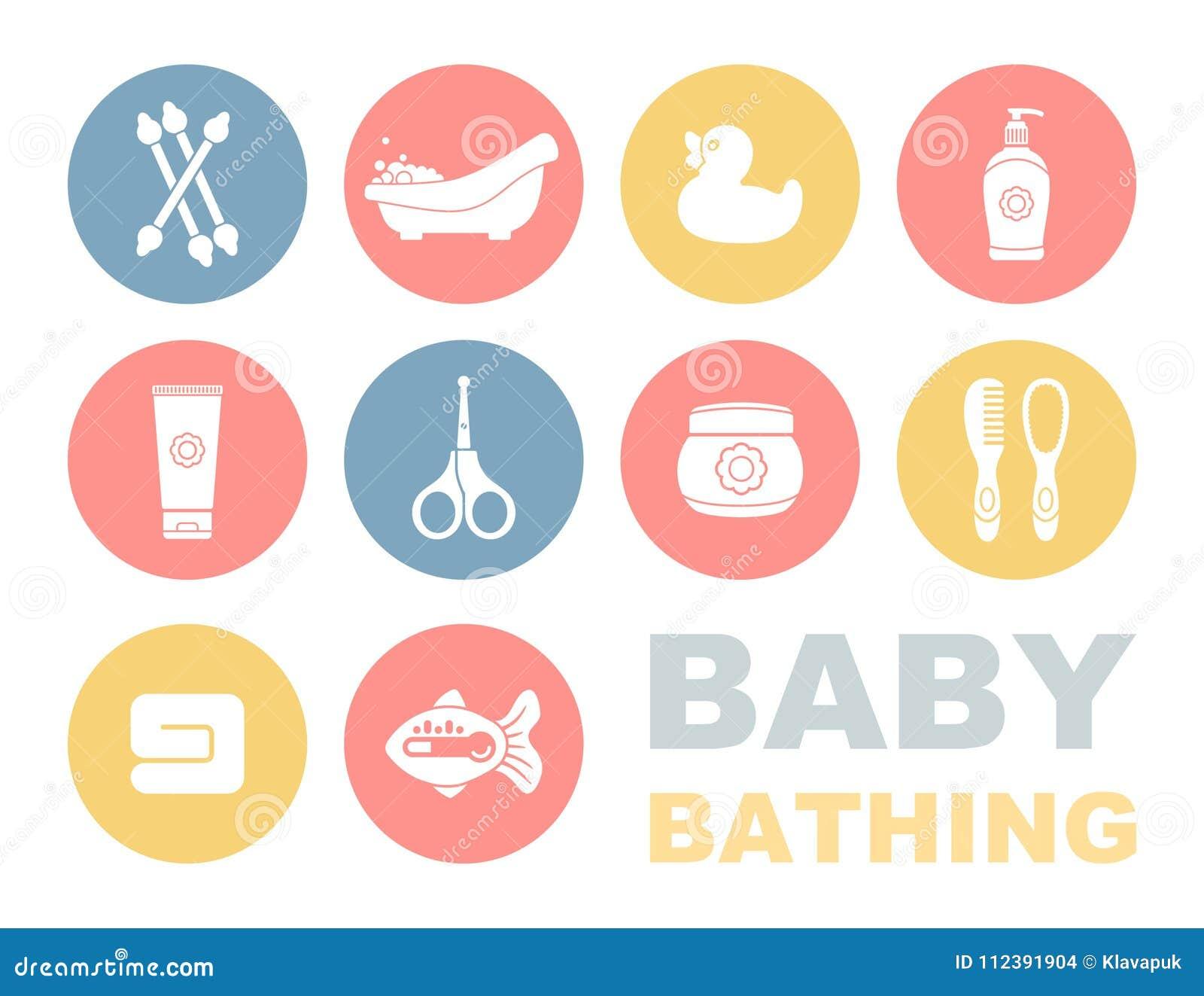 婴孩沐浴和关心象