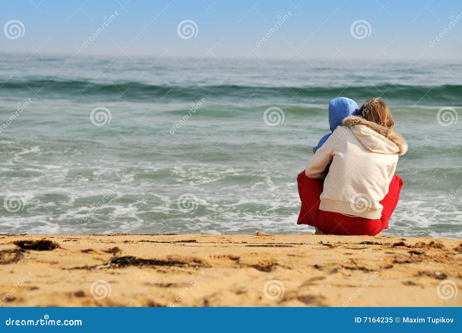 婴孩海滩系列母亲海运