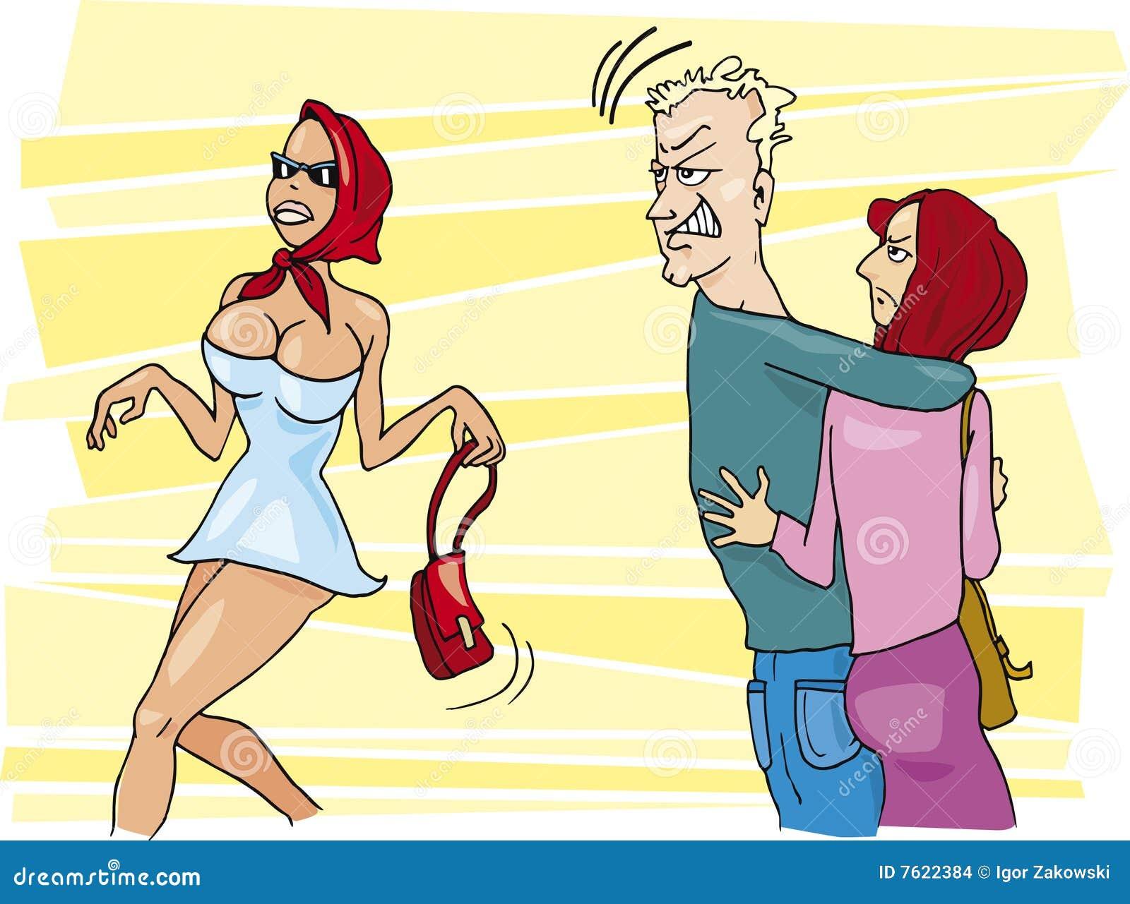 嫉妒的妇女追逐女色的人