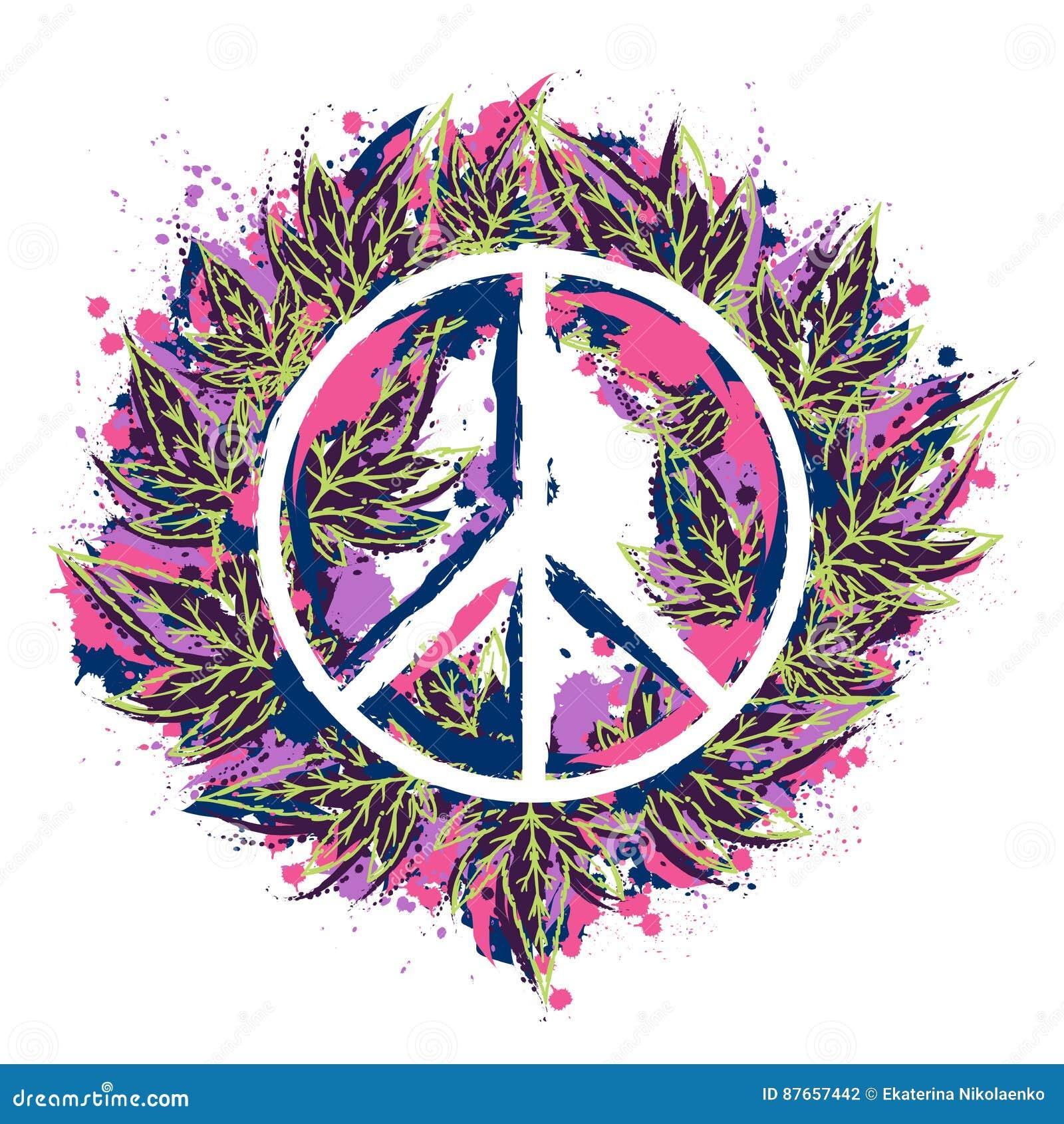 嬉皮与大麻的和平标志在水彩样式离开 嬉皮题材