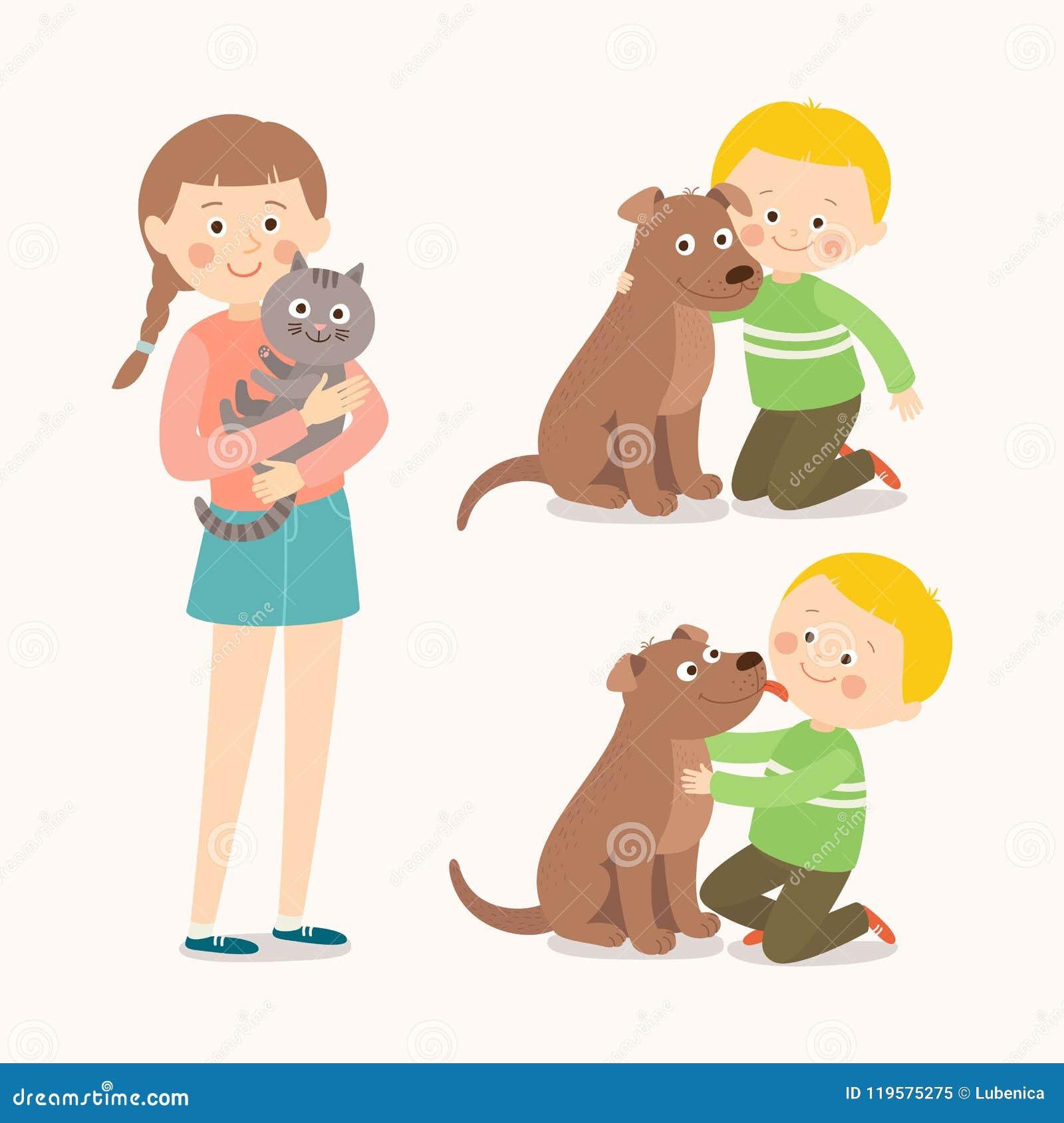 子项和宠物 孩子爱恋拥抱他的爱犬 舔男孩` s面颊的小犬座 猫女孩她少年 人兽交