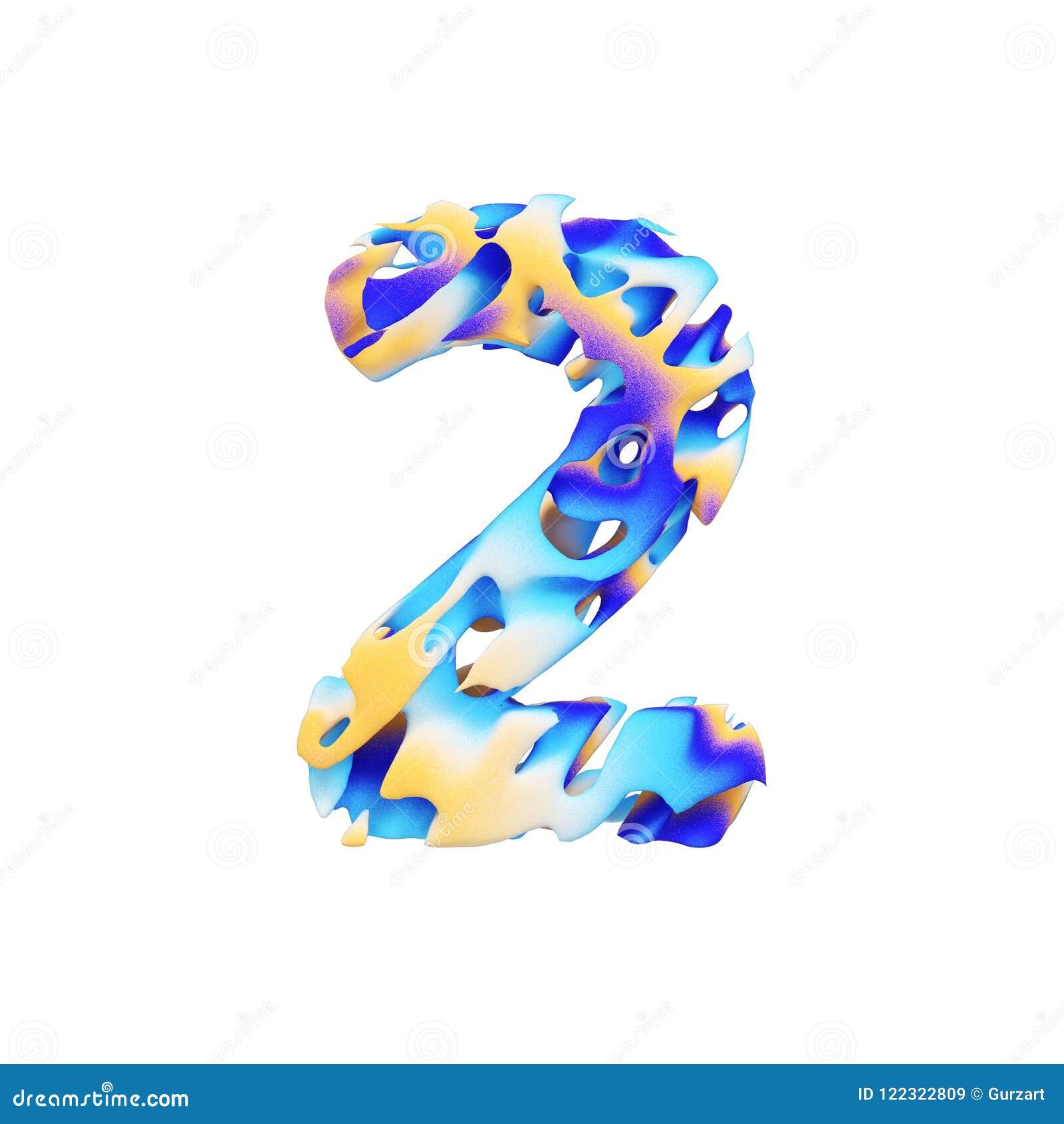 字母表第2 脏的液体异乎寻常的热带字体由颜色油漆做成绘画的技巧  3d在空白背景回报查出