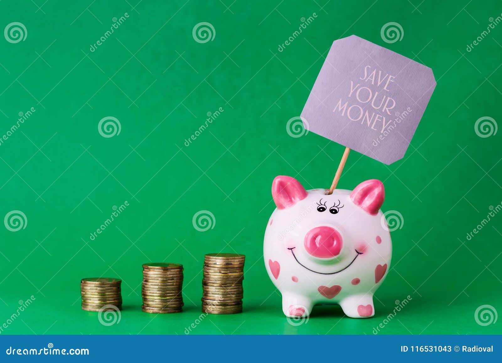 存钱罐和塔硬币 题字救球您的金钱 复制空间