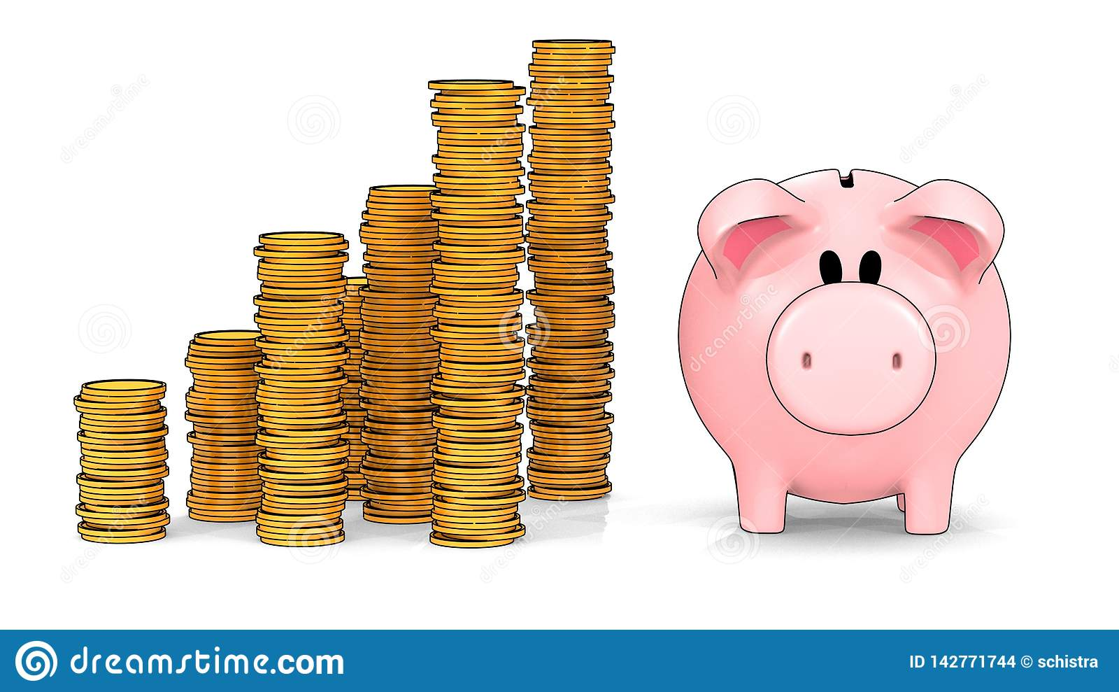 存钱罐和增长的堆在cel阴影样式- 3D的硬币例证