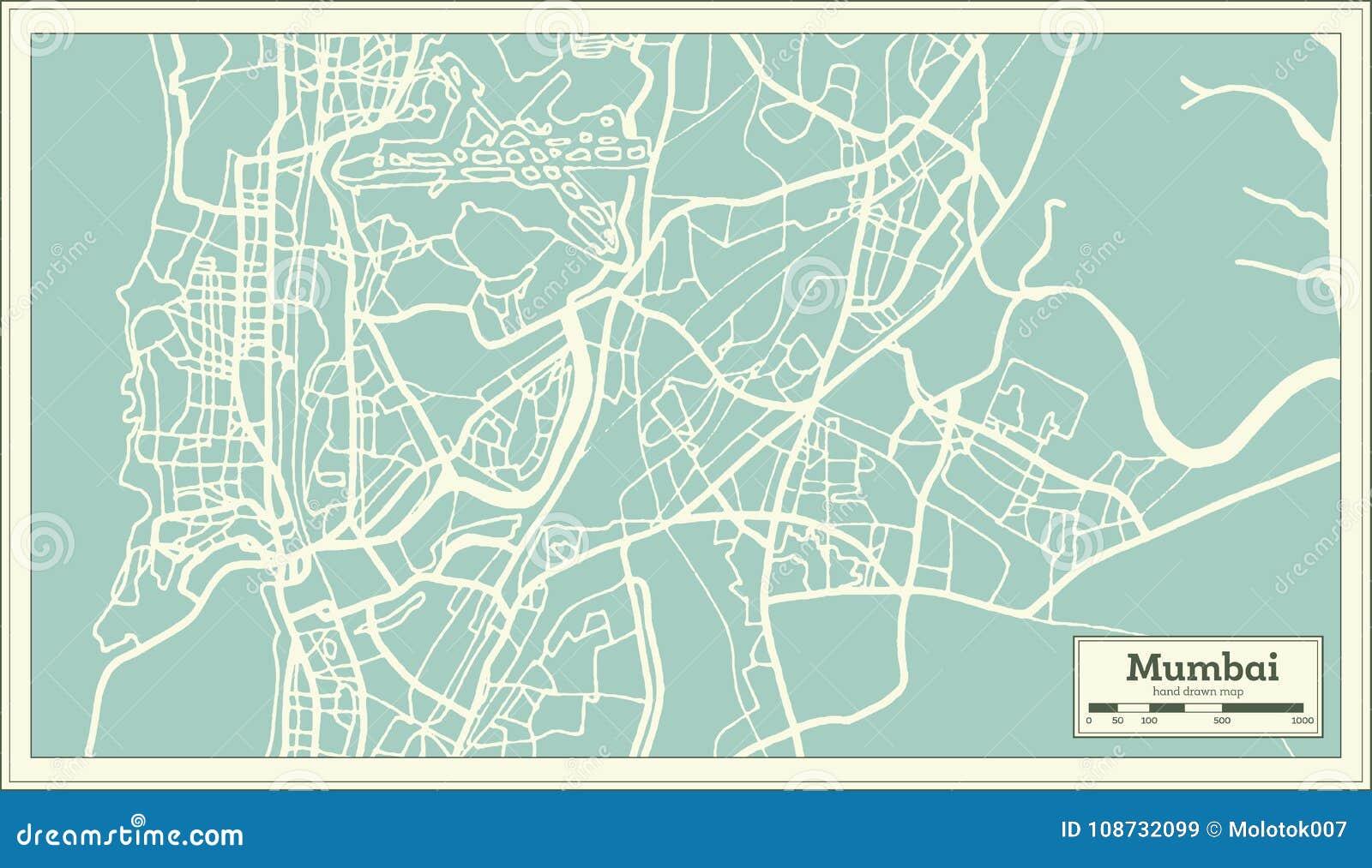 孟买印度在减速火箭的样式的市地图 黑白向量例证