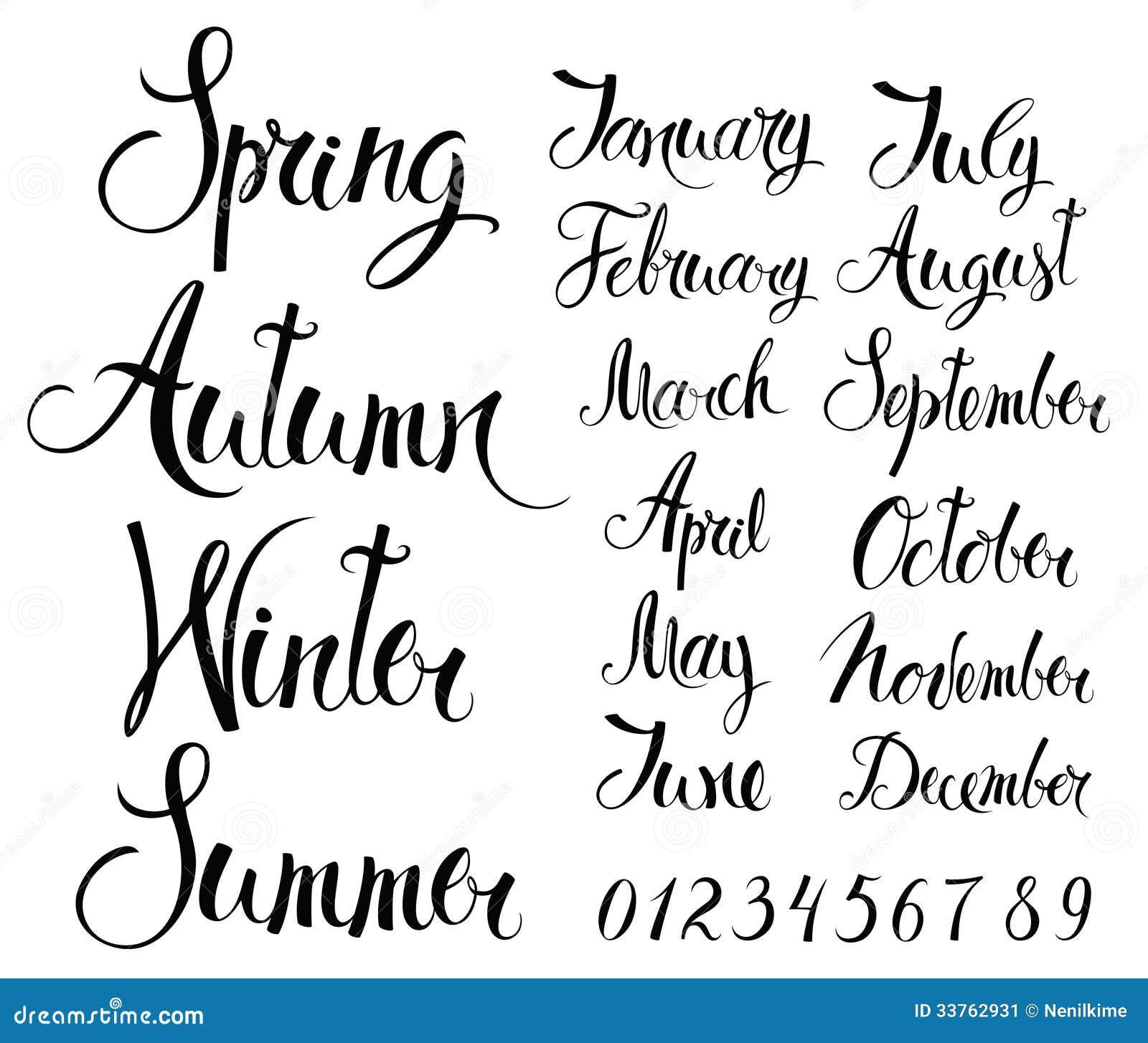 季节、几个月和数字