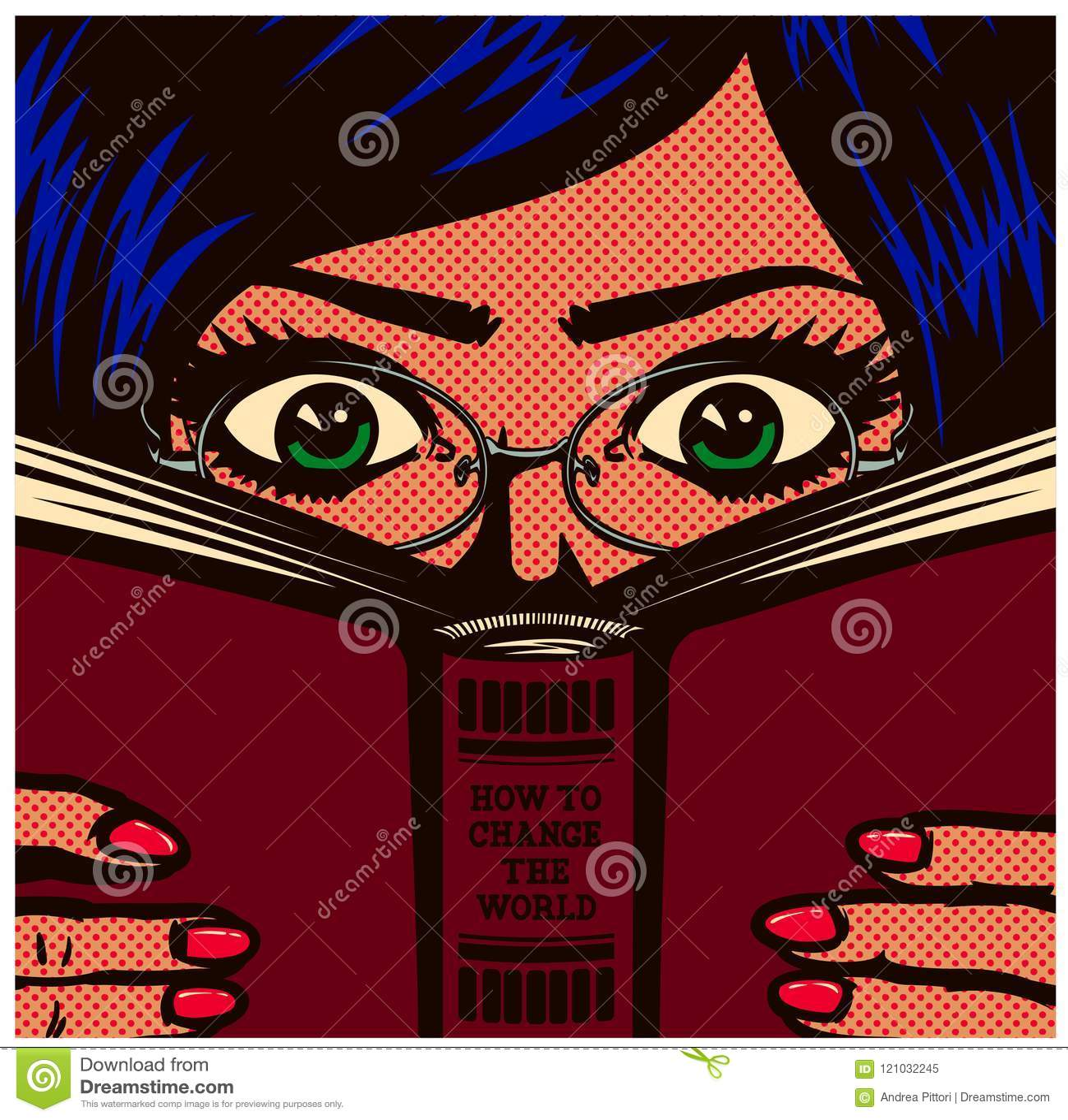 学习流行艺术漫画书书痴讨厌的女学生的女孩和阅读书传染媒介例证