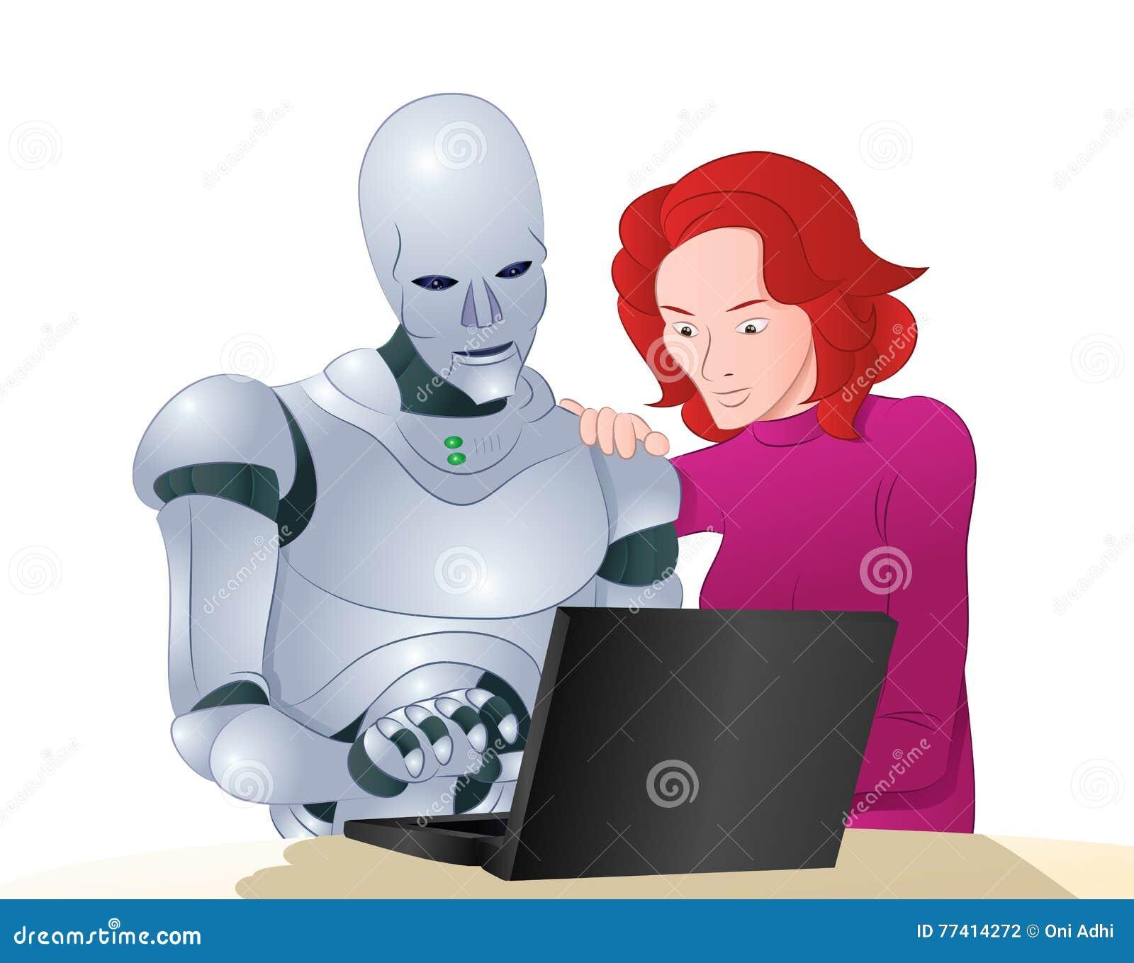 学会膝上型计算机的Droid机器人帮助的妇女