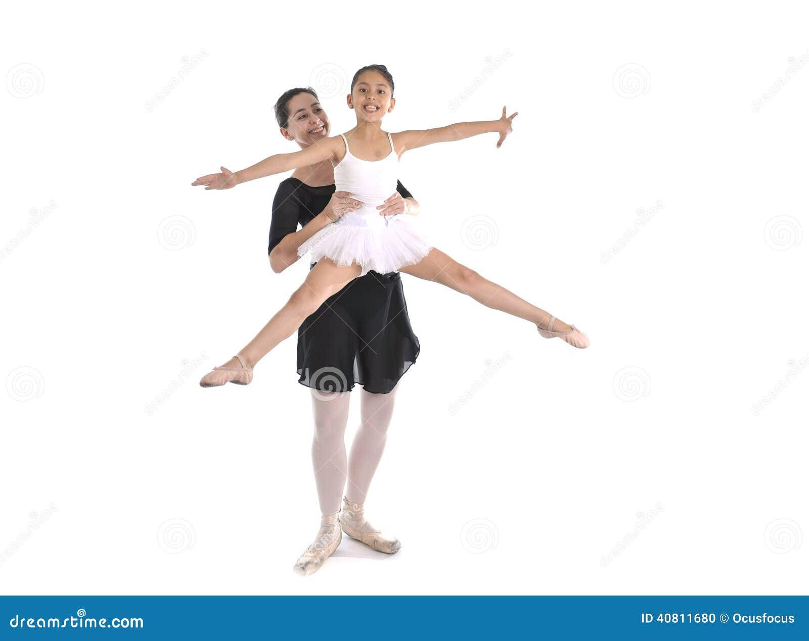 学到与女性芭蕾老师的年轻小女孩芭蕾舞女演员舞蹈课.