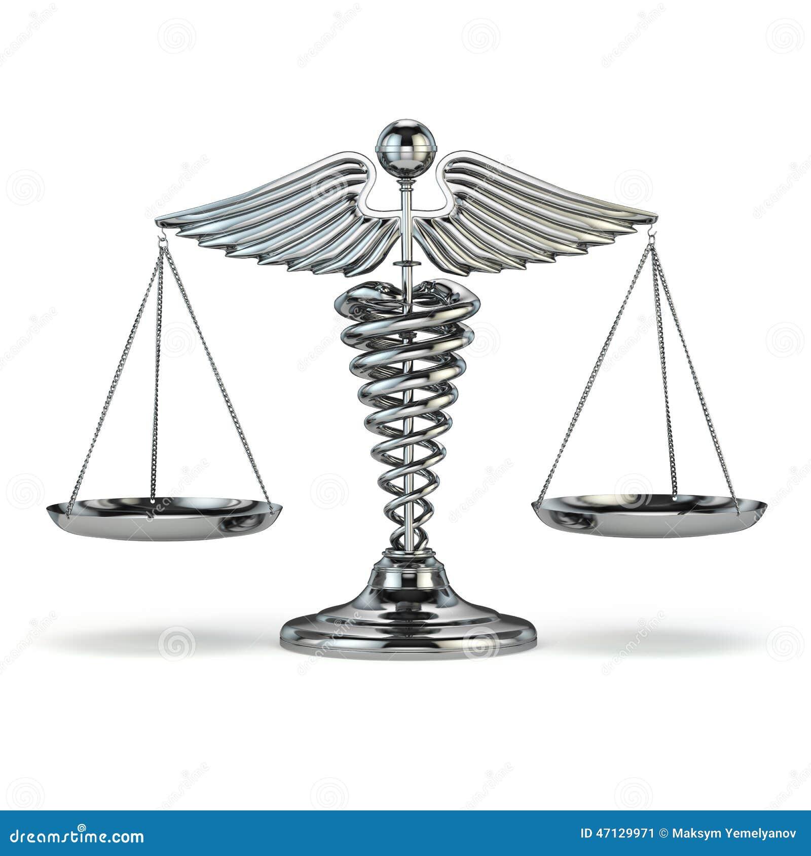 医学和正义 众神使者的手杖标志作为标度 概念性imag