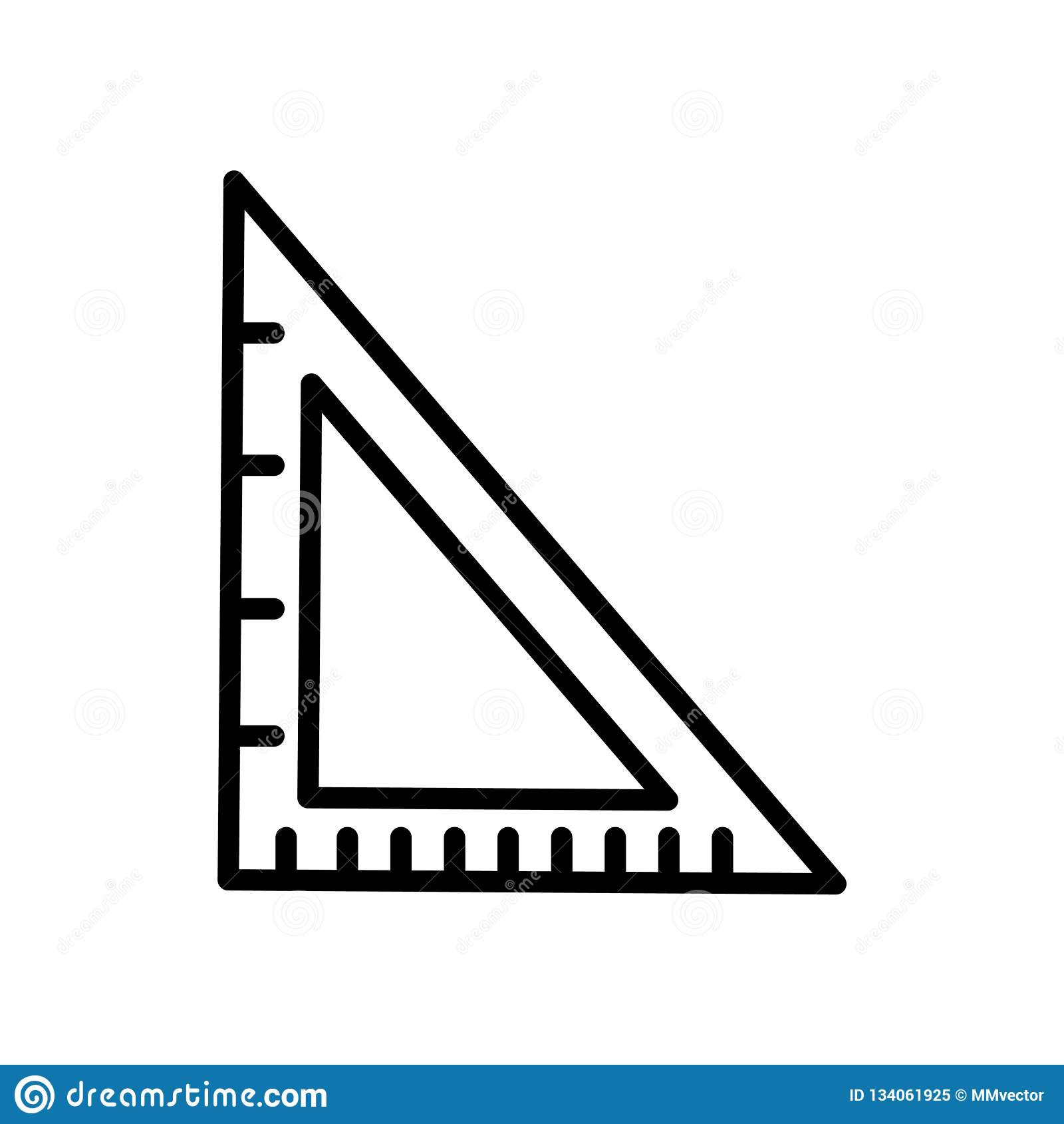 学校三角在白色背景、学校三角标志、线性标志和冲程设计元素隔绝的象传染媒介