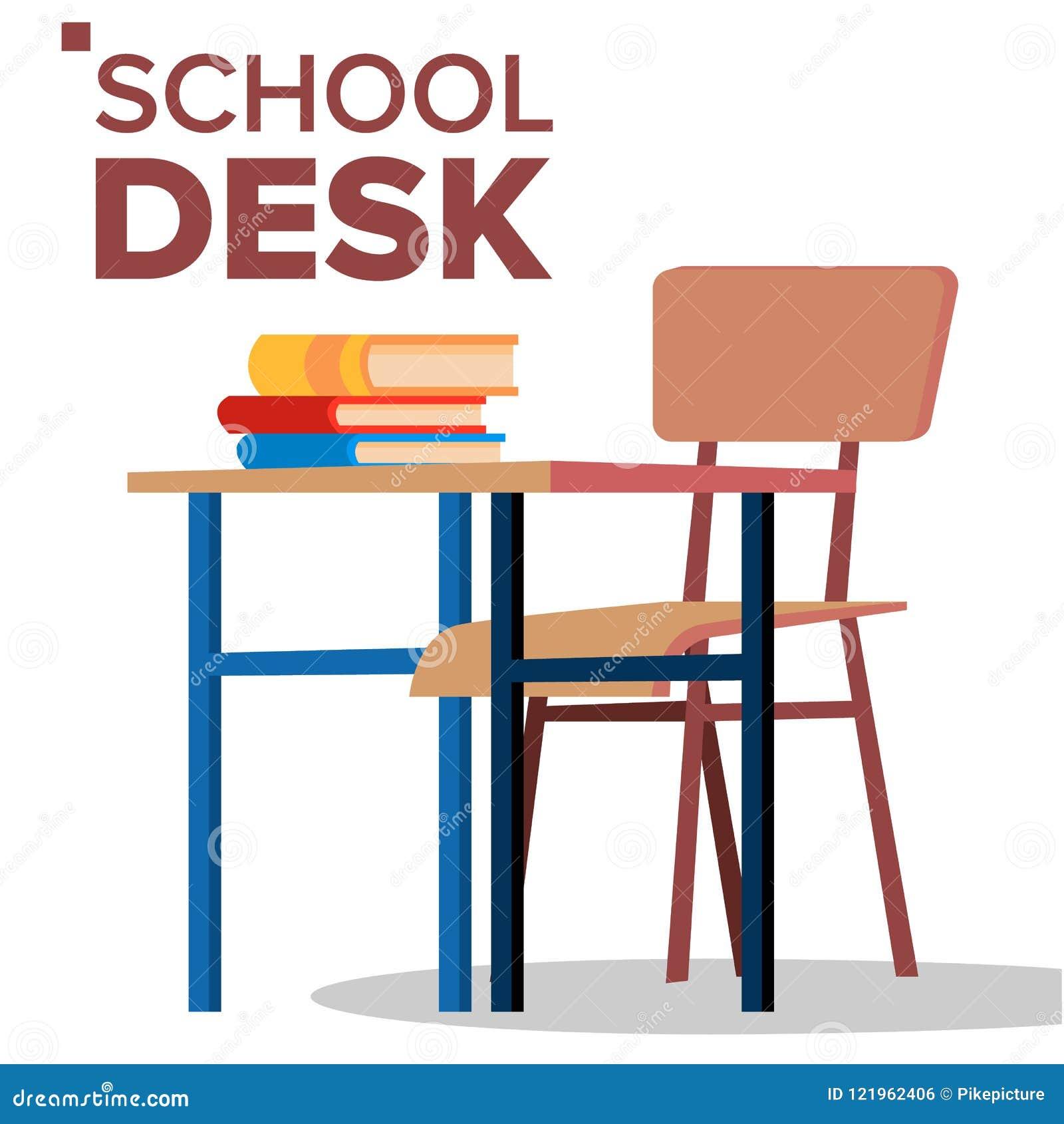 学校书桌,椅子传染媒介 经典空的木学校设备 被隔绝的平的动画片例证
