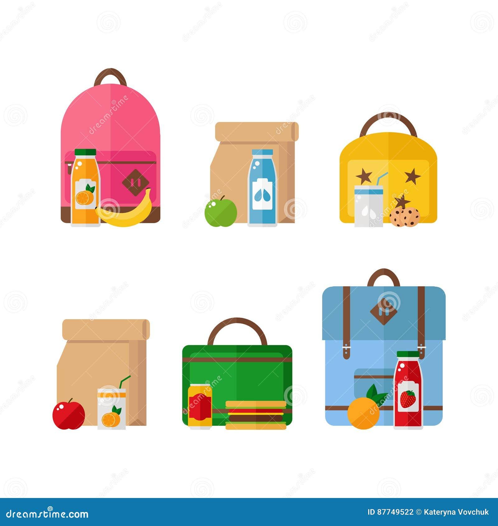 学校午餐在白色背景隔绝的箱子和背包象