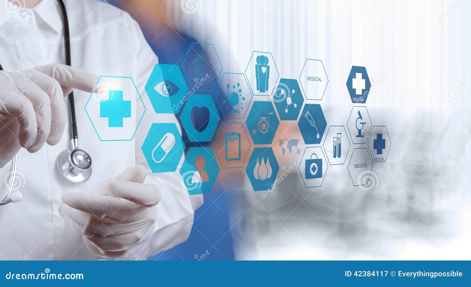 医学�yb>X�~Z�n�>�_医学医生手与现代计算机接口一起使用作为医疗概念.