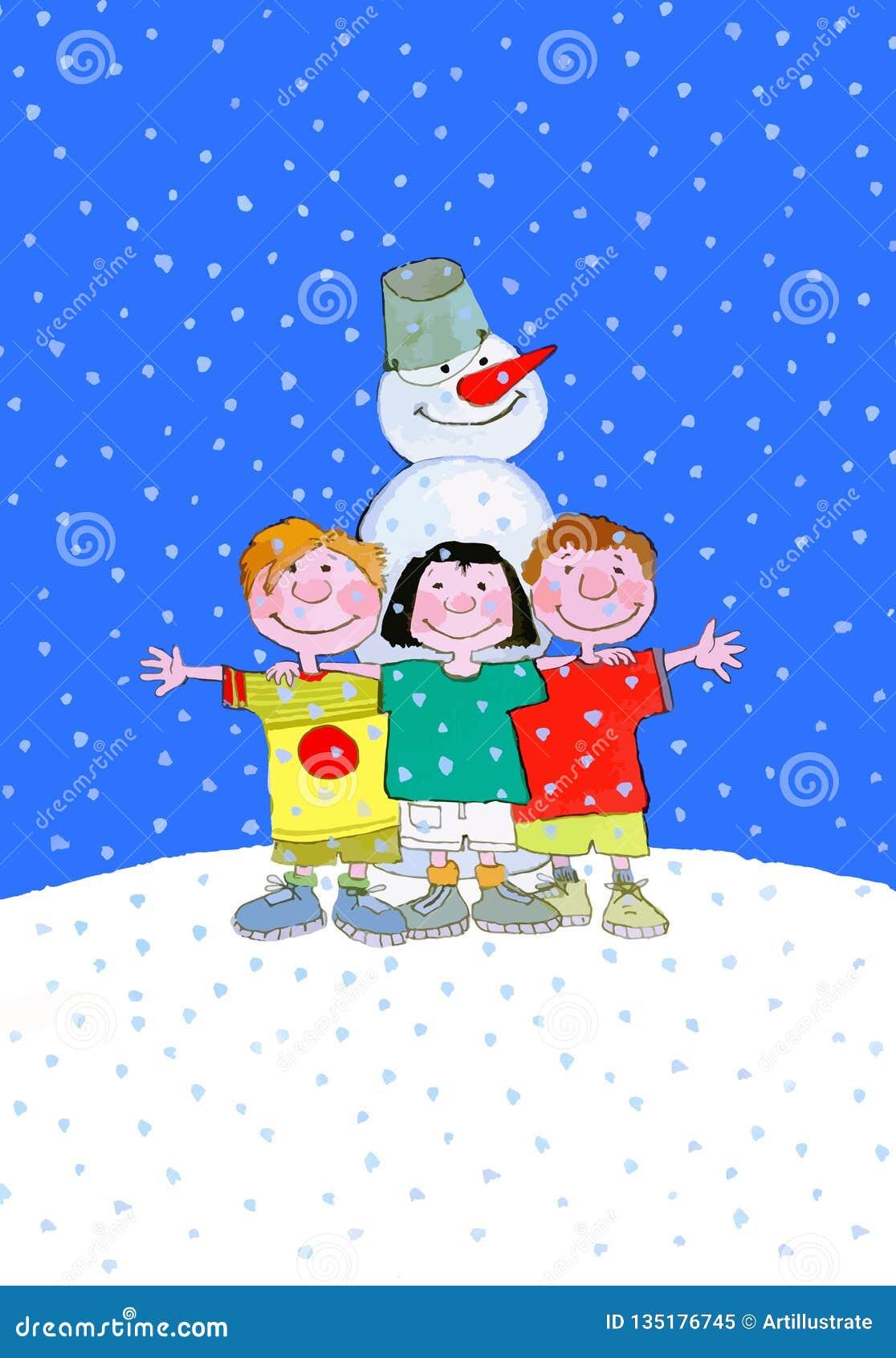 孩子和雪人在寒假