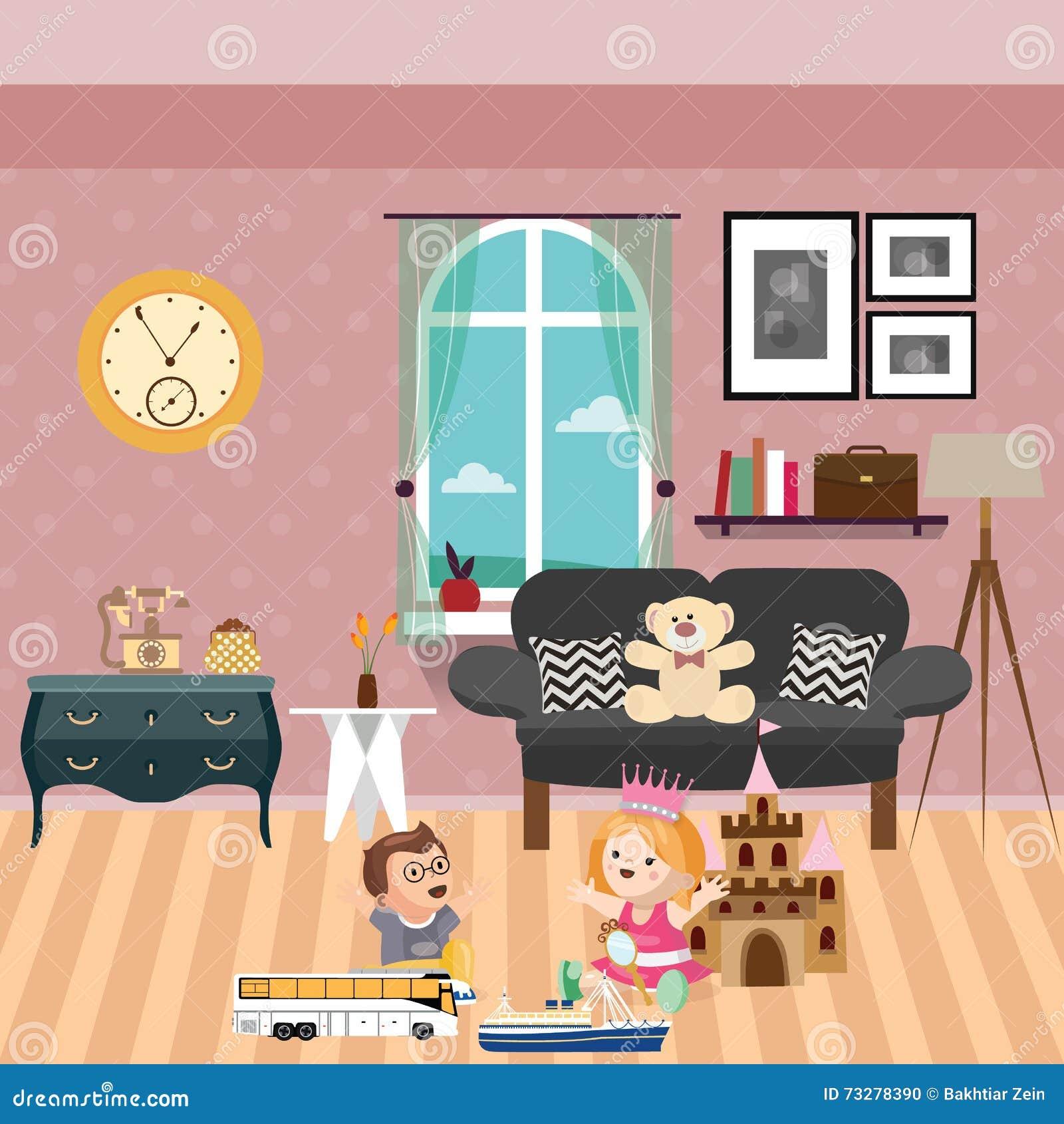 孩子在有后边全部的屋子里使用玩具和玩偶沙发