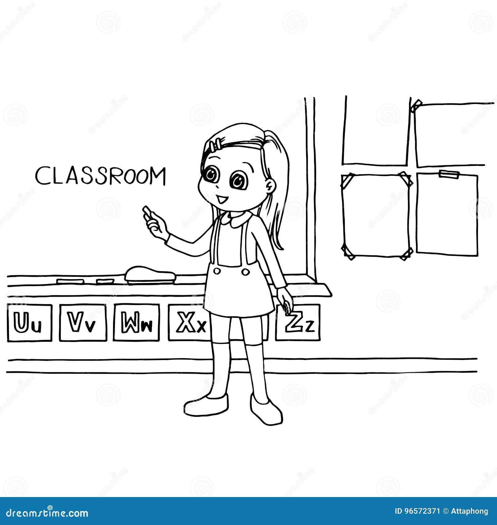 孩子在黑板动画片着色页传染媒介的教室