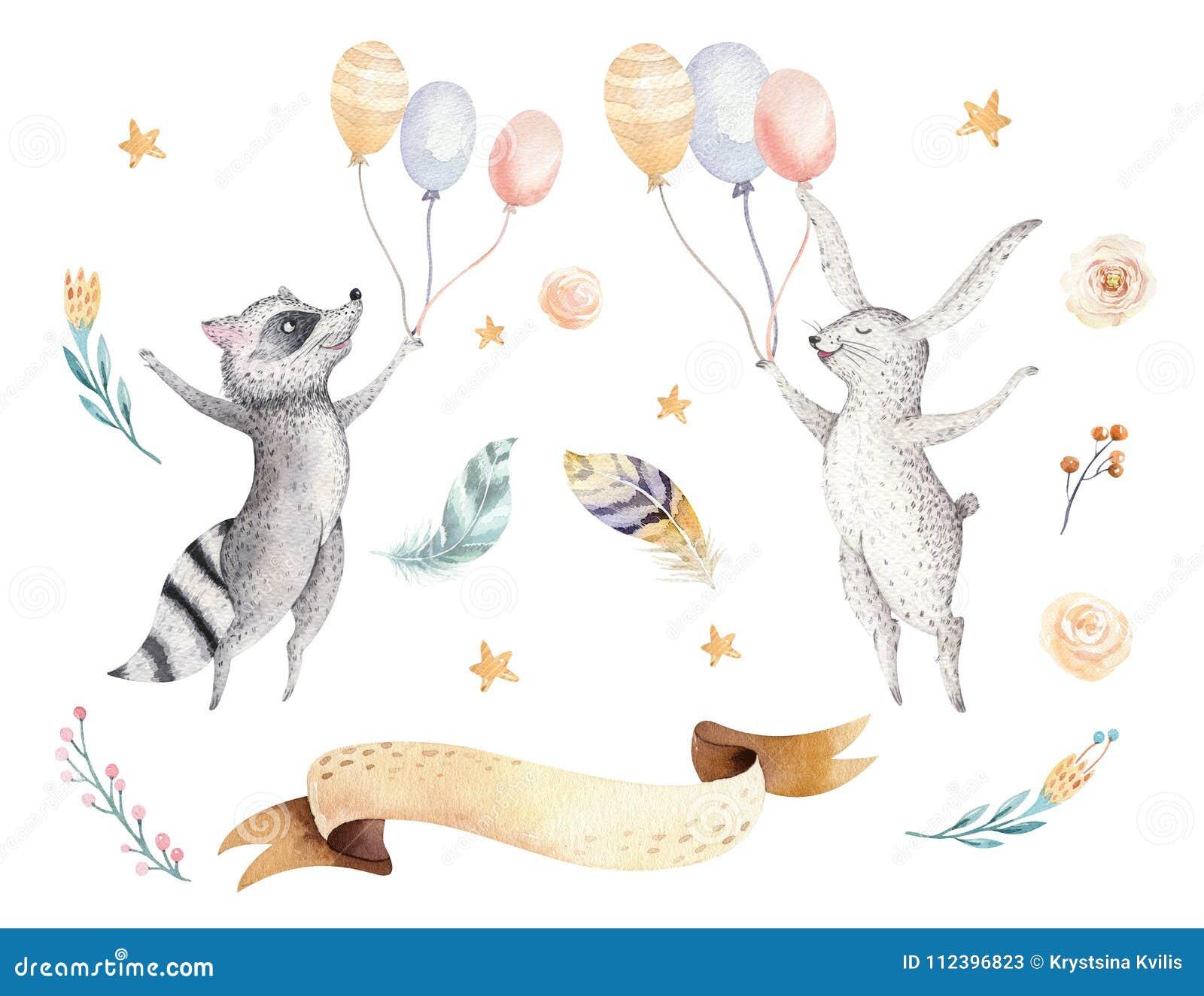 孩子水彩boho森林动画片生日patry兔子的逗人喜爱的跳跃的浣熊和兔宝宝动物例证