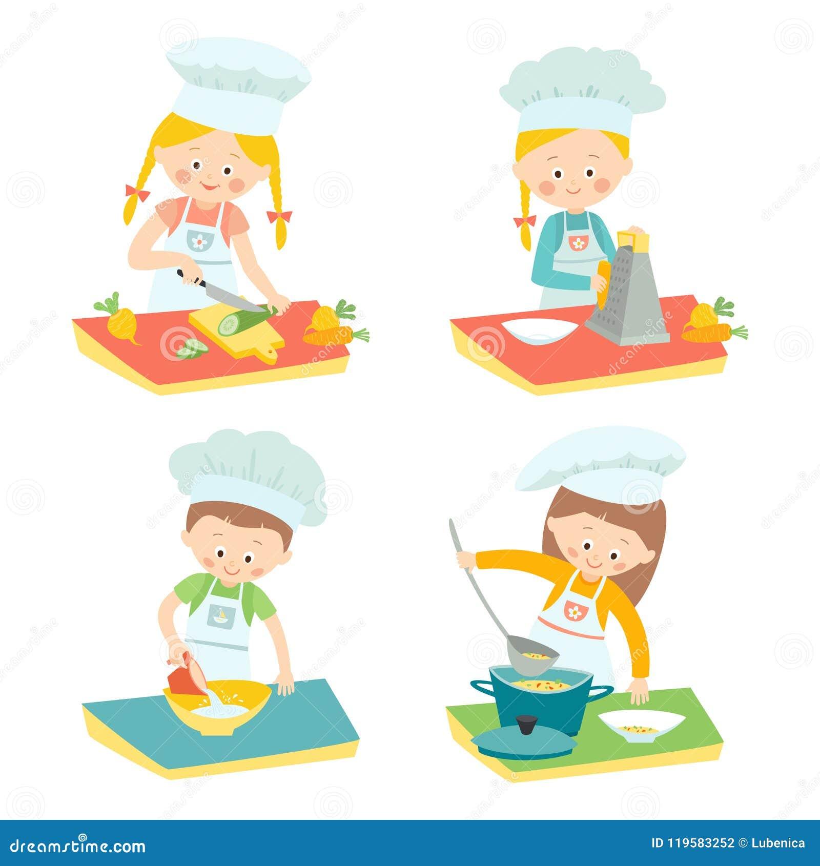 孩子烹调 烹饪类的孩子 主厨一点 导航被隔绝的手拉的eps 10剪贴美术例证