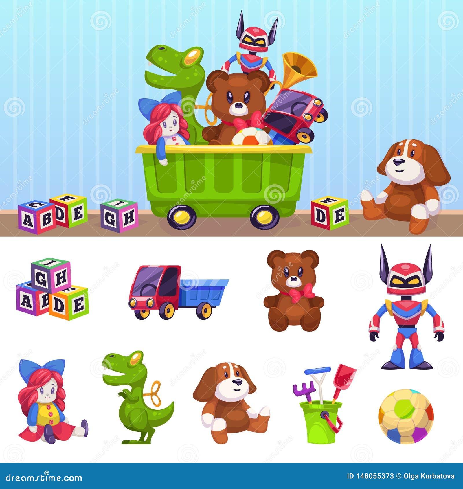 孩子玩具箱 孩子戏弄有演奏的块汽车房子和啤酒被隔绝的传染媒介动画片集合容器