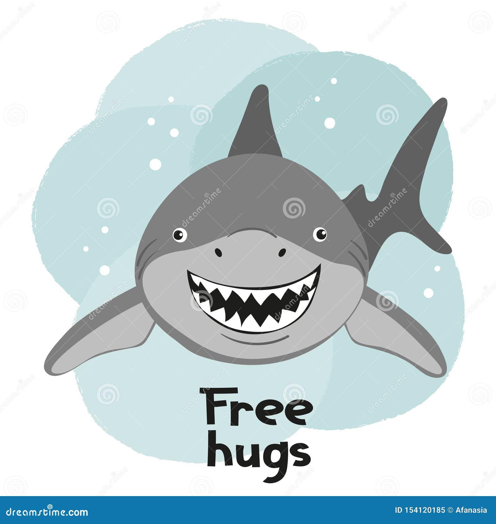 孩子的动画片微笑的鲨鱼传染媒介例证