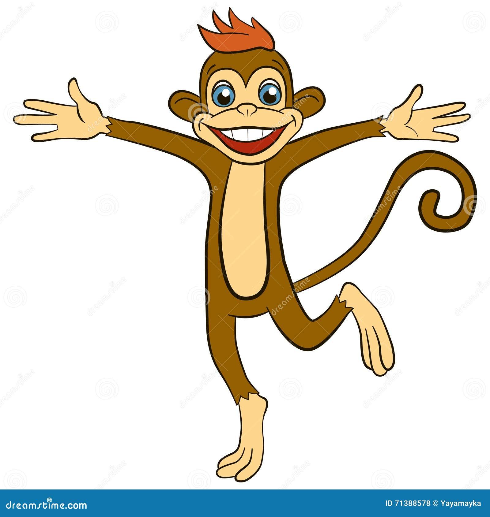 孩子的动画片动物 小的逗人喜爱的猴子奔跑和波浪