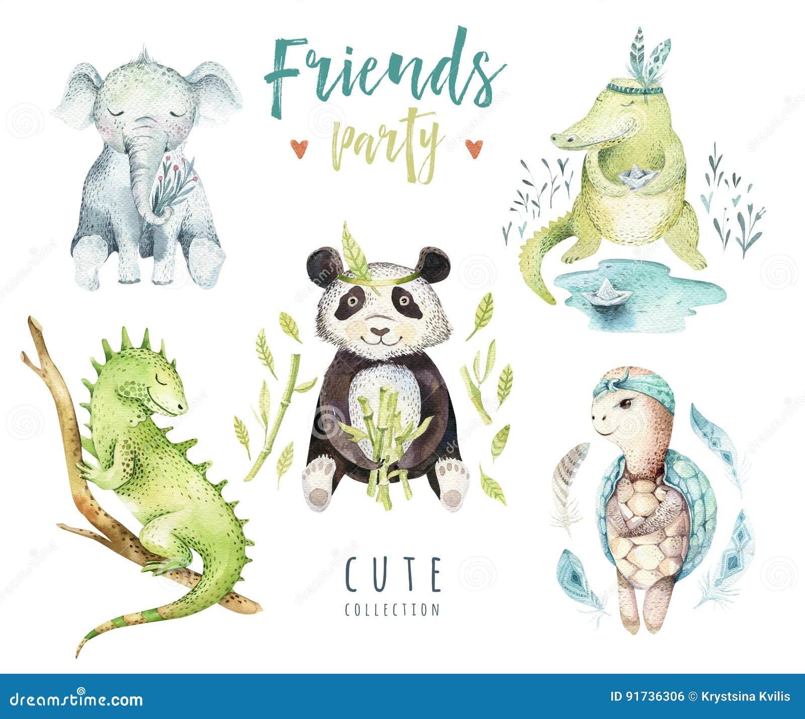 孩子的小动物托儿所被隔绝的例证 水彩boho热带图画,儿童punda,鳄鱼