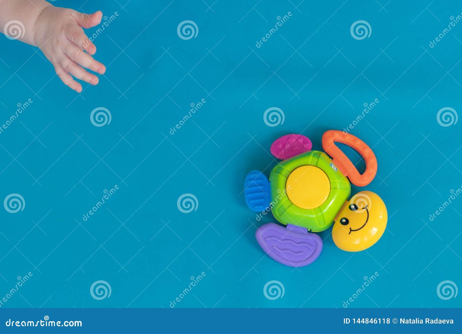 孩子的手为一只多彩多姿的玩具乌龟到达,盘旋反对蓝色背景 ?? r