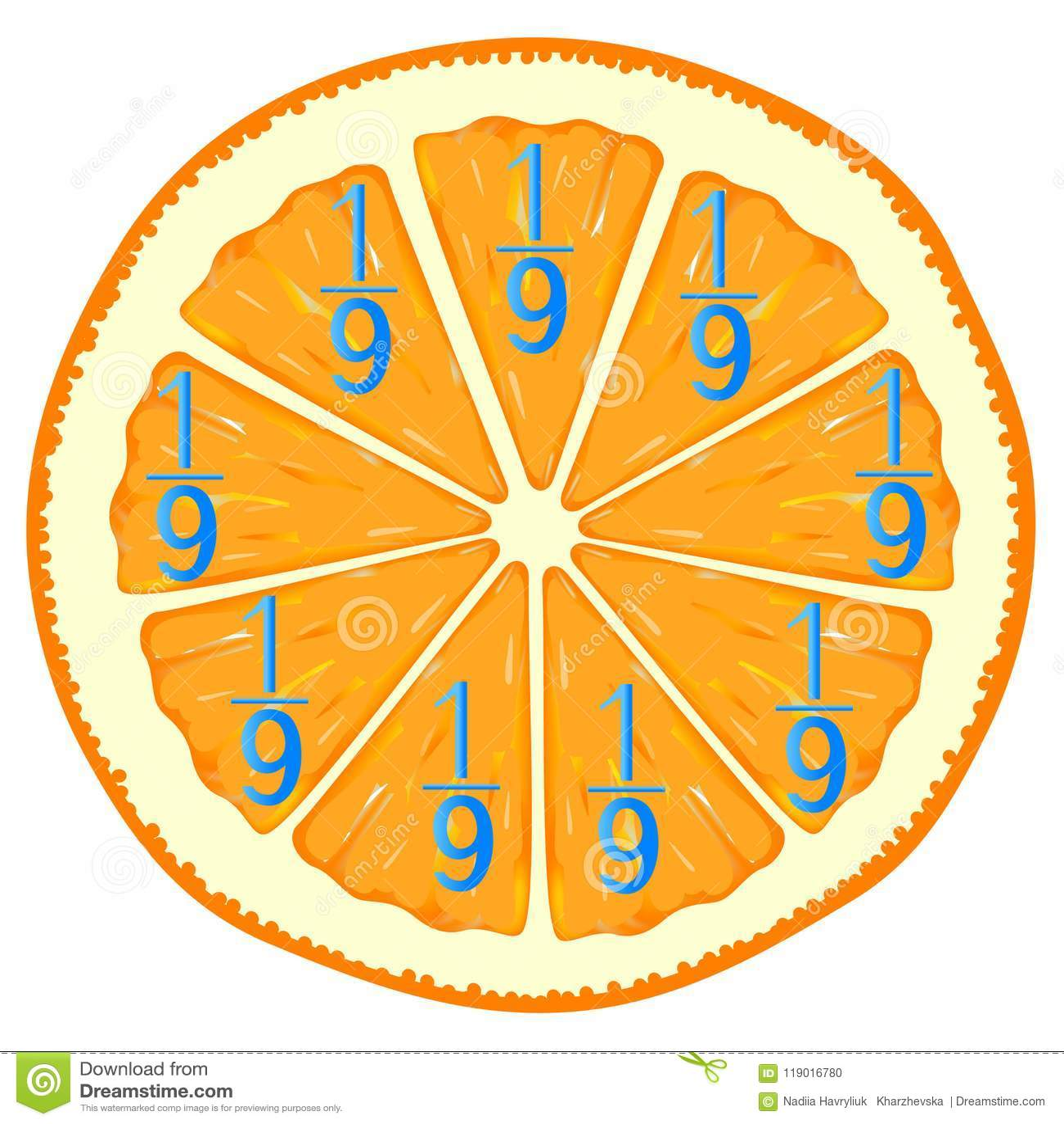 孩子的数学比赛 学习分数数字,例子用桔子