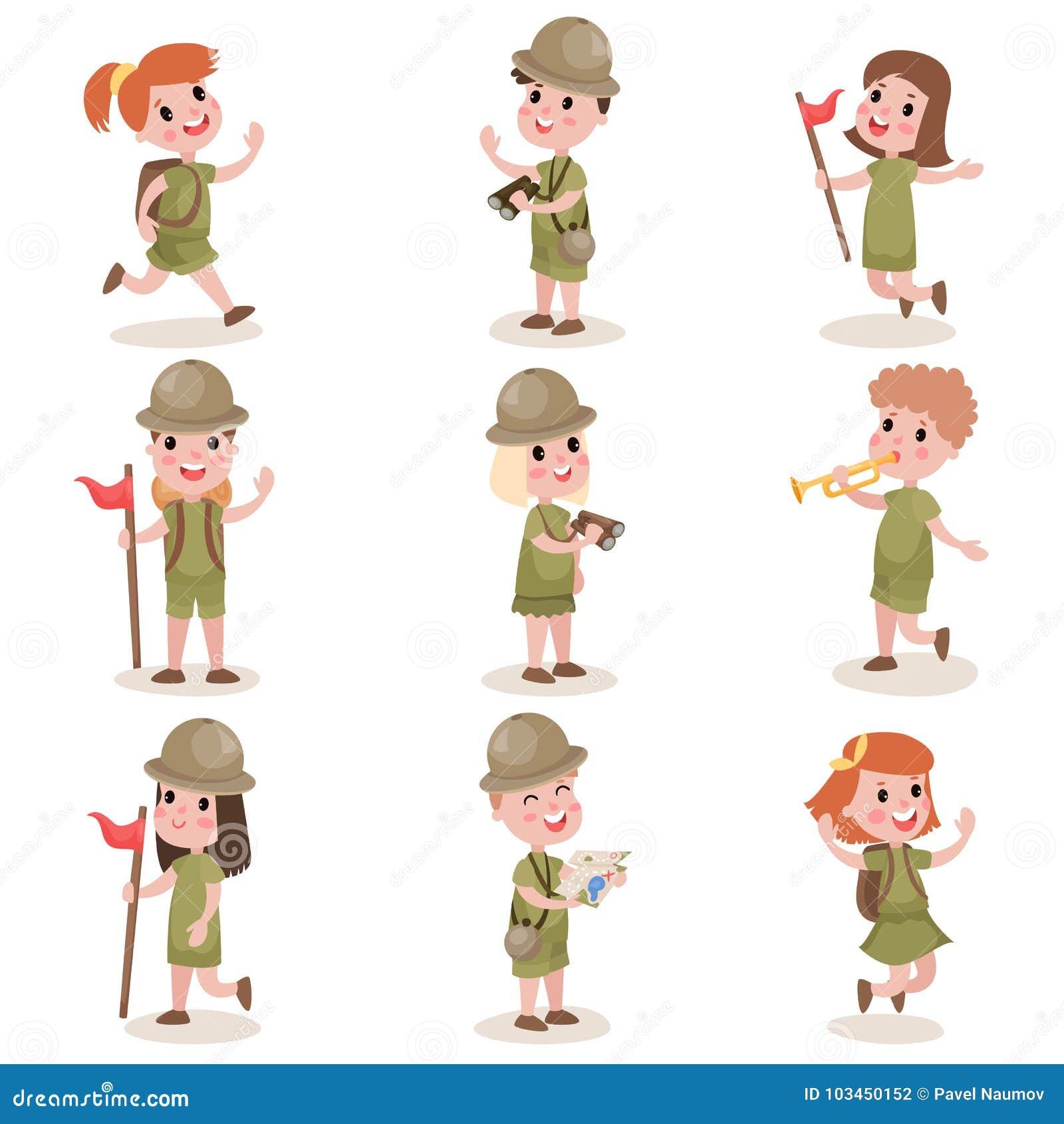 孩子的汇集侦察野营的成套装备,夏令营活动
