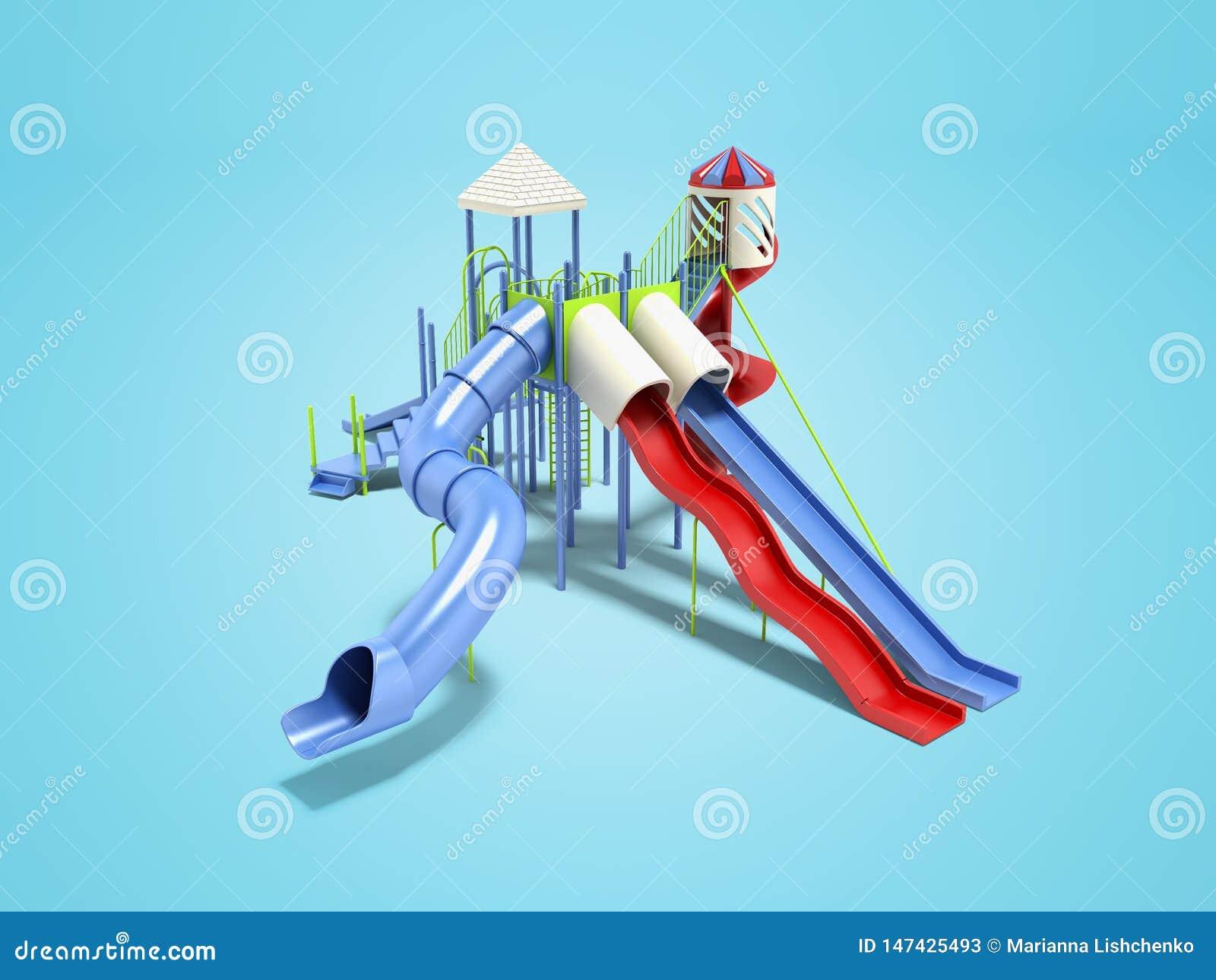 孩子的现代蓝色操场水在蓝色背景的比赛3d renderer的与阴影