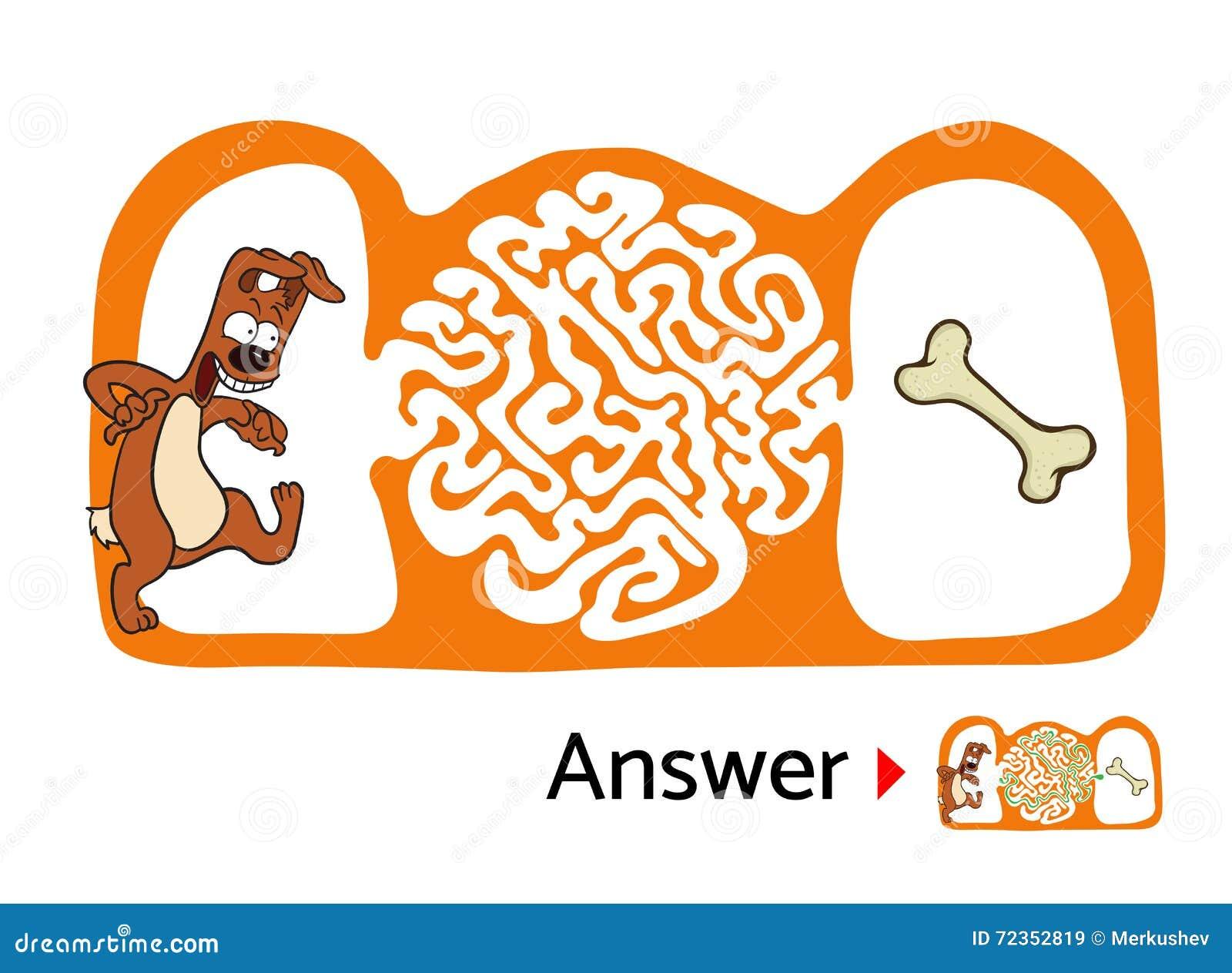 孩子的迷宫难题与狗和骨头 迷宫例证,包括的解答