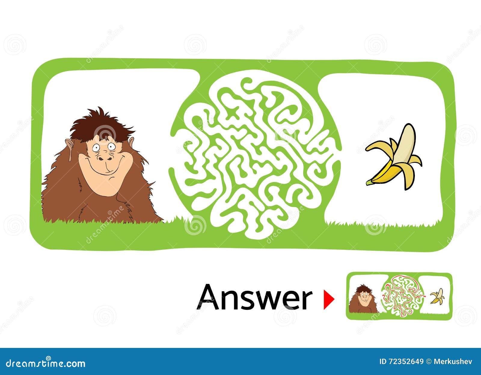 孩子的迷宫难题与猴子和香蕉 迷宫例证,包括的解答