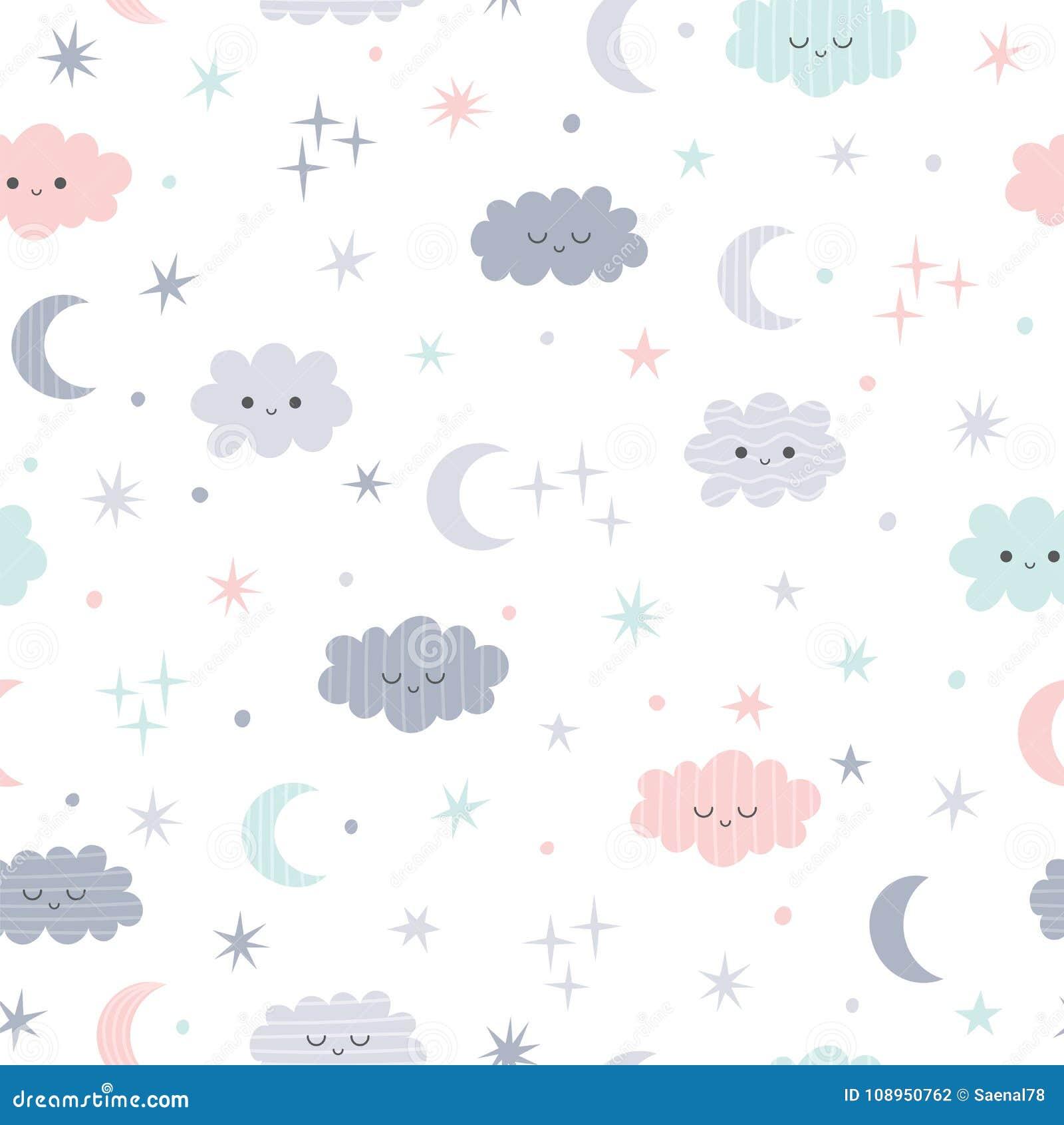 孩子的逗人喜爱的无缝的样式 与月亮、星和云彩的可爱的儿童背景