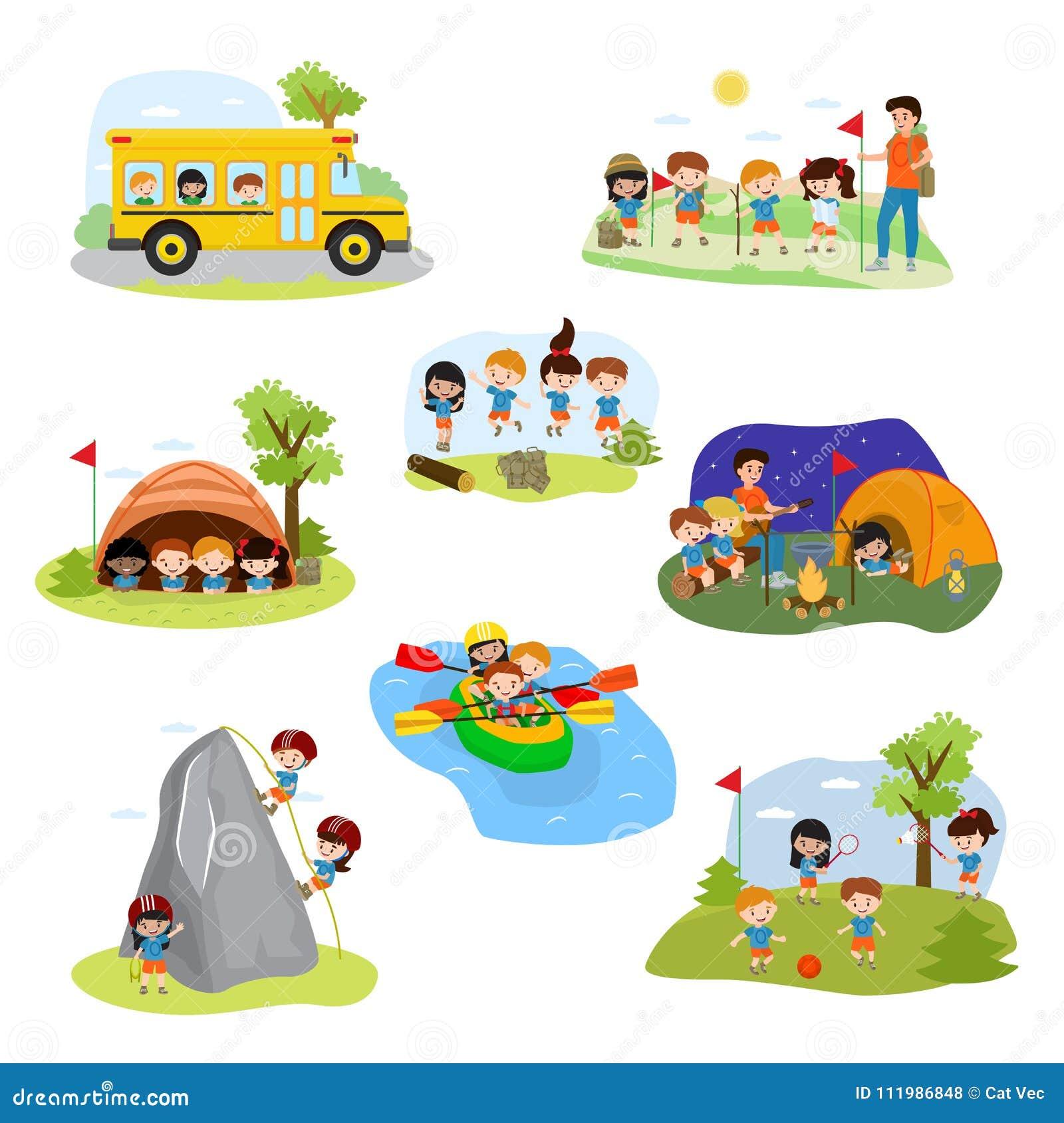 孩子阵营传染媒介儿童露营车字符和野营的活动在暑假使用例证的套孩子