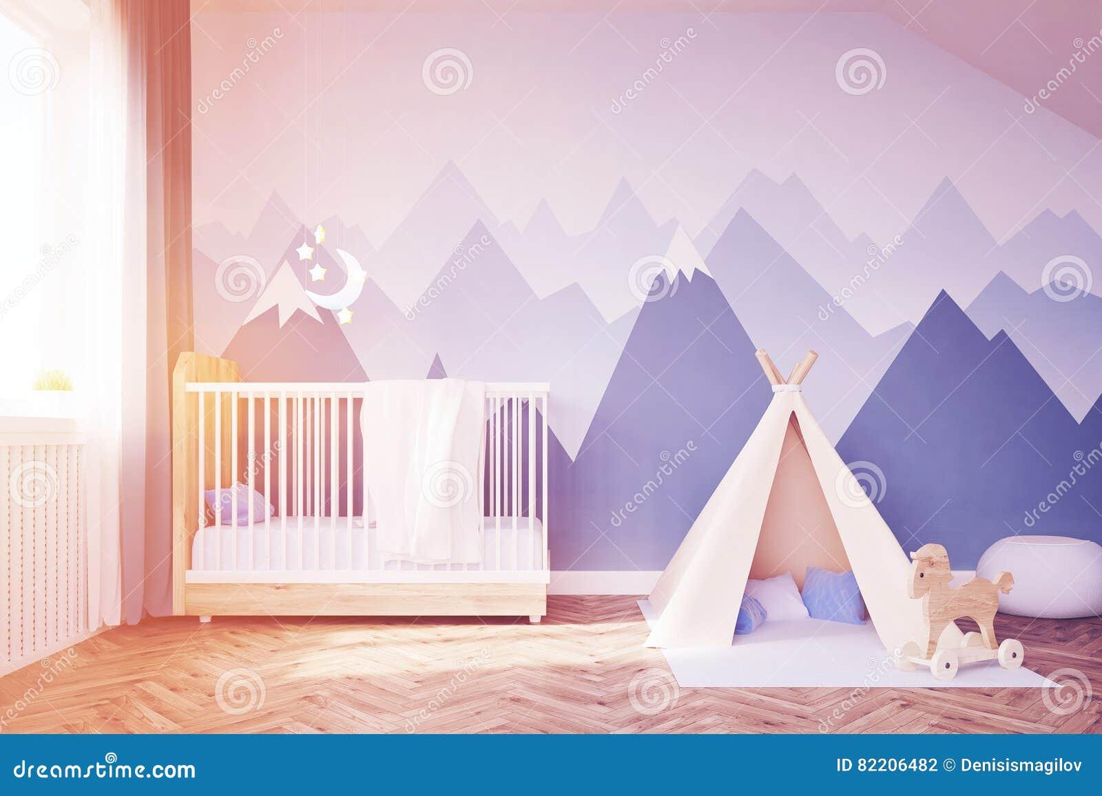 婴孩有床和帐篷的` s室,被定调子