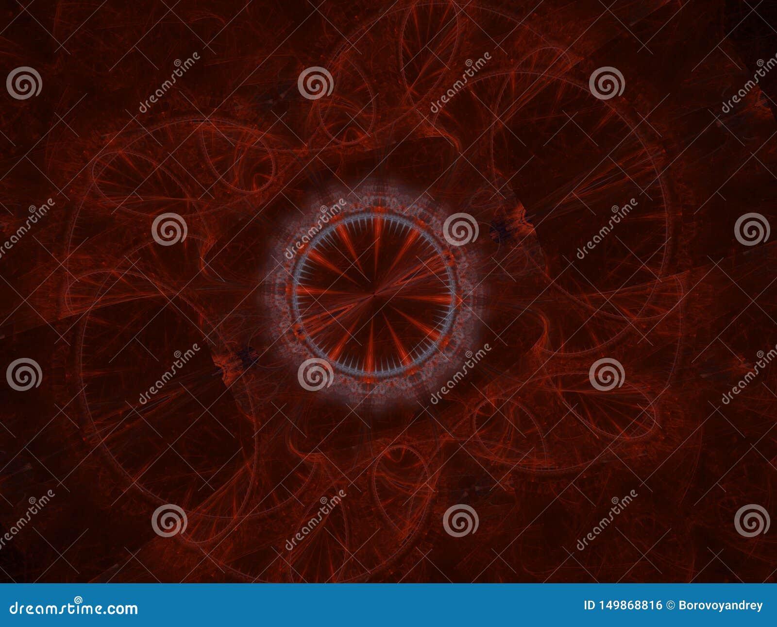 宇宙几何 在空间的轻的现象 闪光和闪电在疲倦天空中 抽象分数维坛场例证 ?treadled