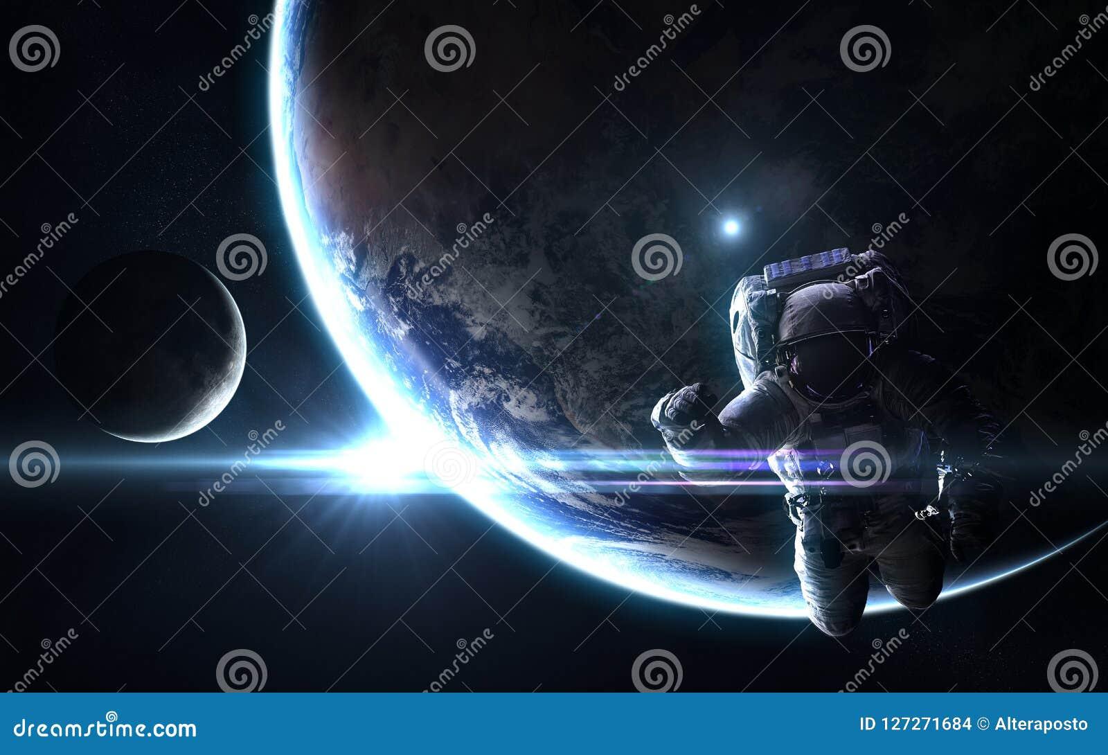 宇航员、行星地球和月亮在太阳明亮的蓝色光芒  抽象科学小说 图象的元素由美国航空航天局装备