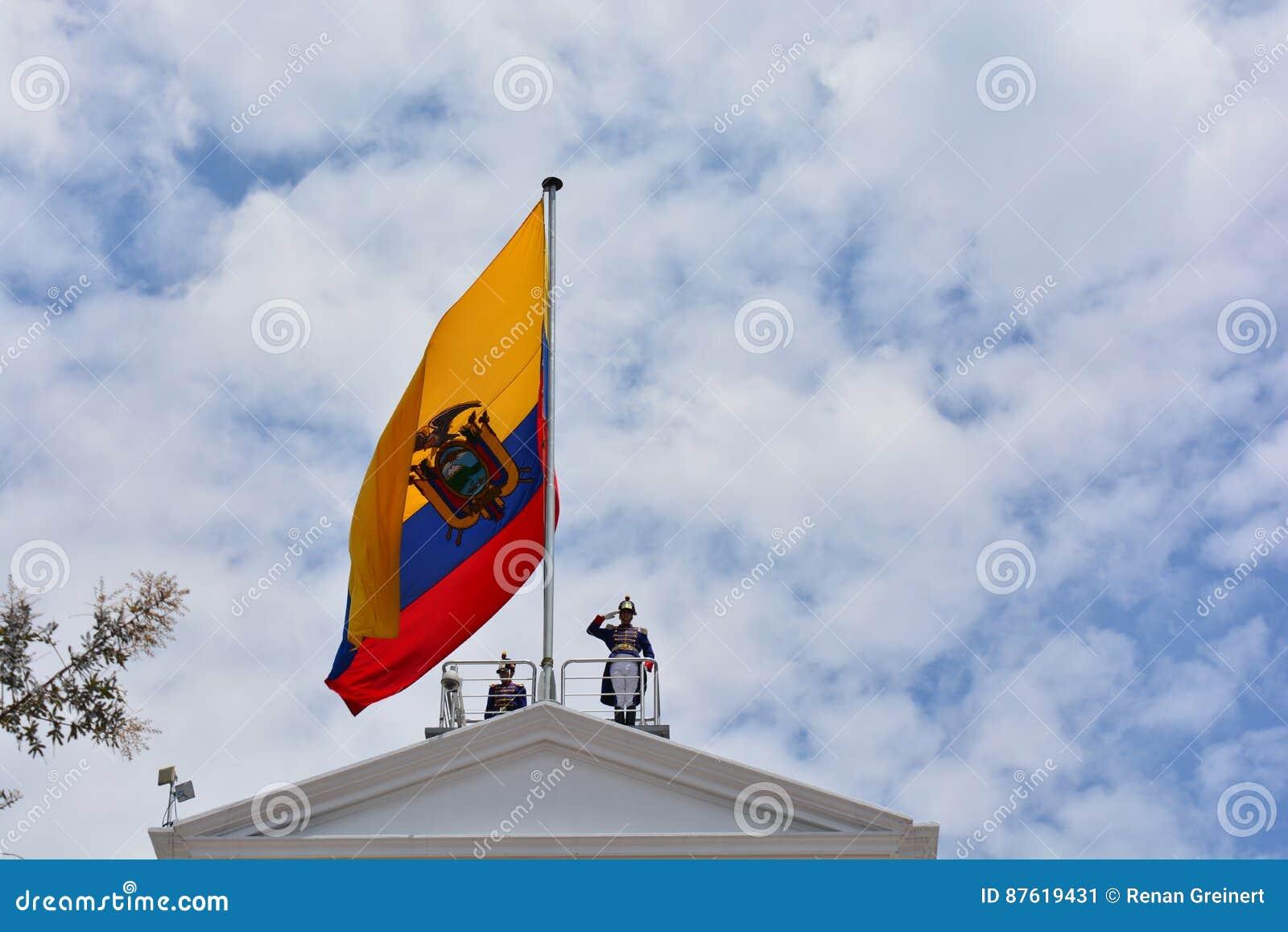 守卫在有厄瓜多尔的旗子的总统府,在基多