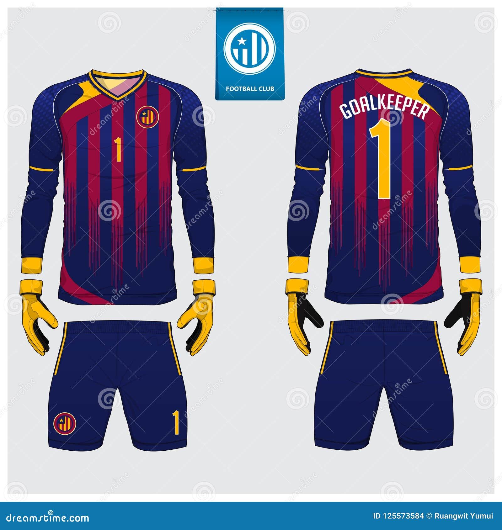 守门员球衣或足球成套工具,长的袖子球衣,守门员手套模板设计 运动衫嘲笑 前面和后面制服