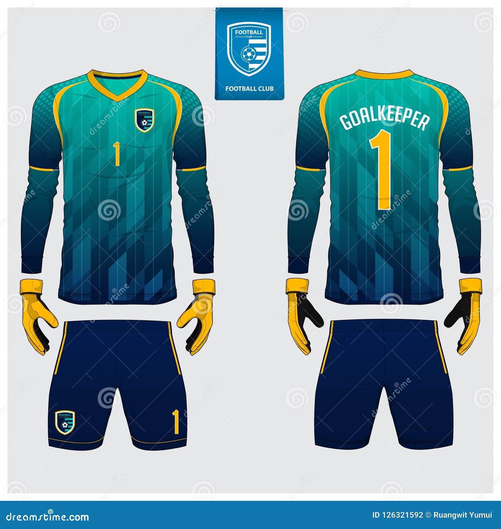 守门员球衣或足球成套工具,长的袖子球衣,守门员手套模板设计 T恤杉嘲笑 前面,后面看法制服