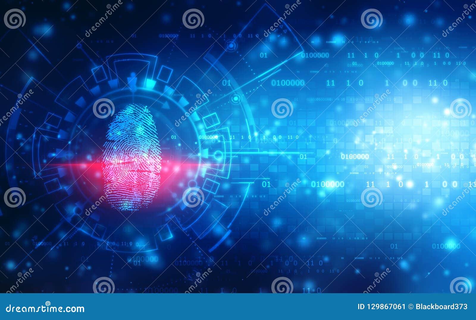 安全概念,在数字屏幕上的指纹扫描 Cyber证券概念