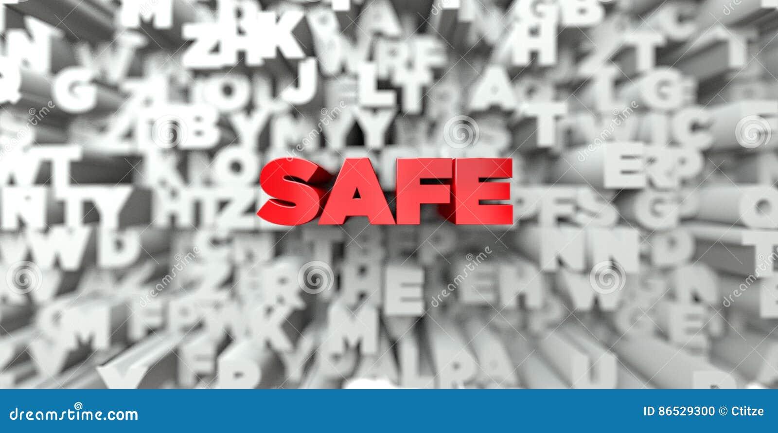安全-在印刷术背景的红色文本- 3D回报了皇族自由储蓄图象