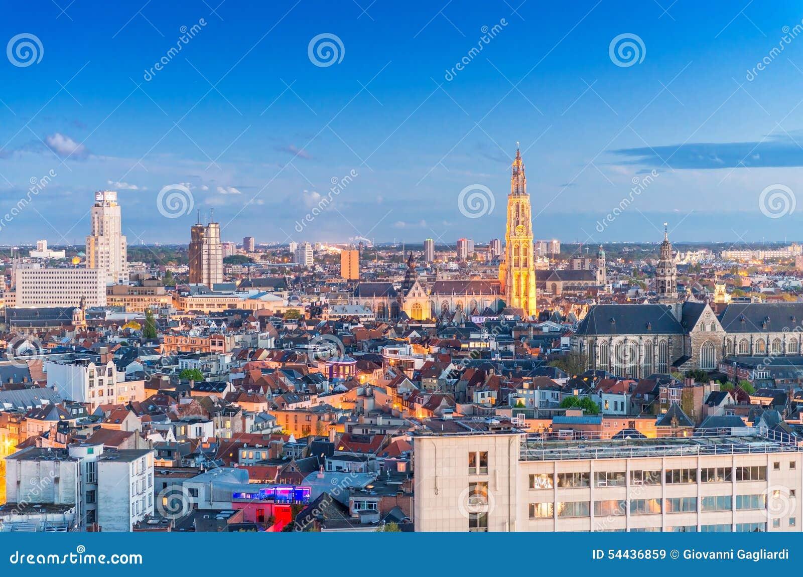 安特卫普比利时 空中城市视图在晚上
