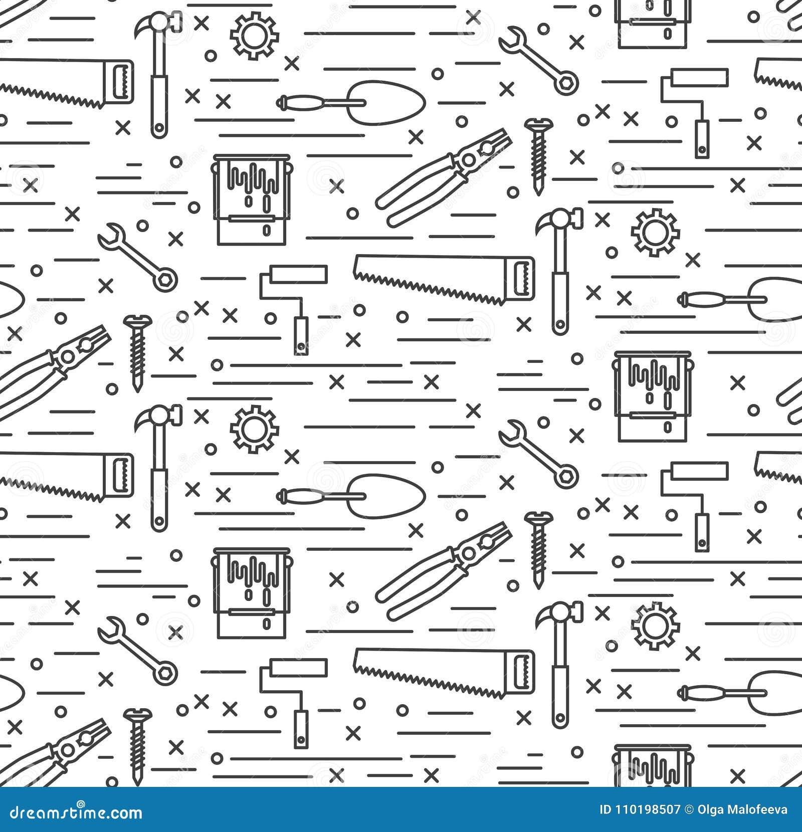 安置修理工具线象无缝的传染媒介样式